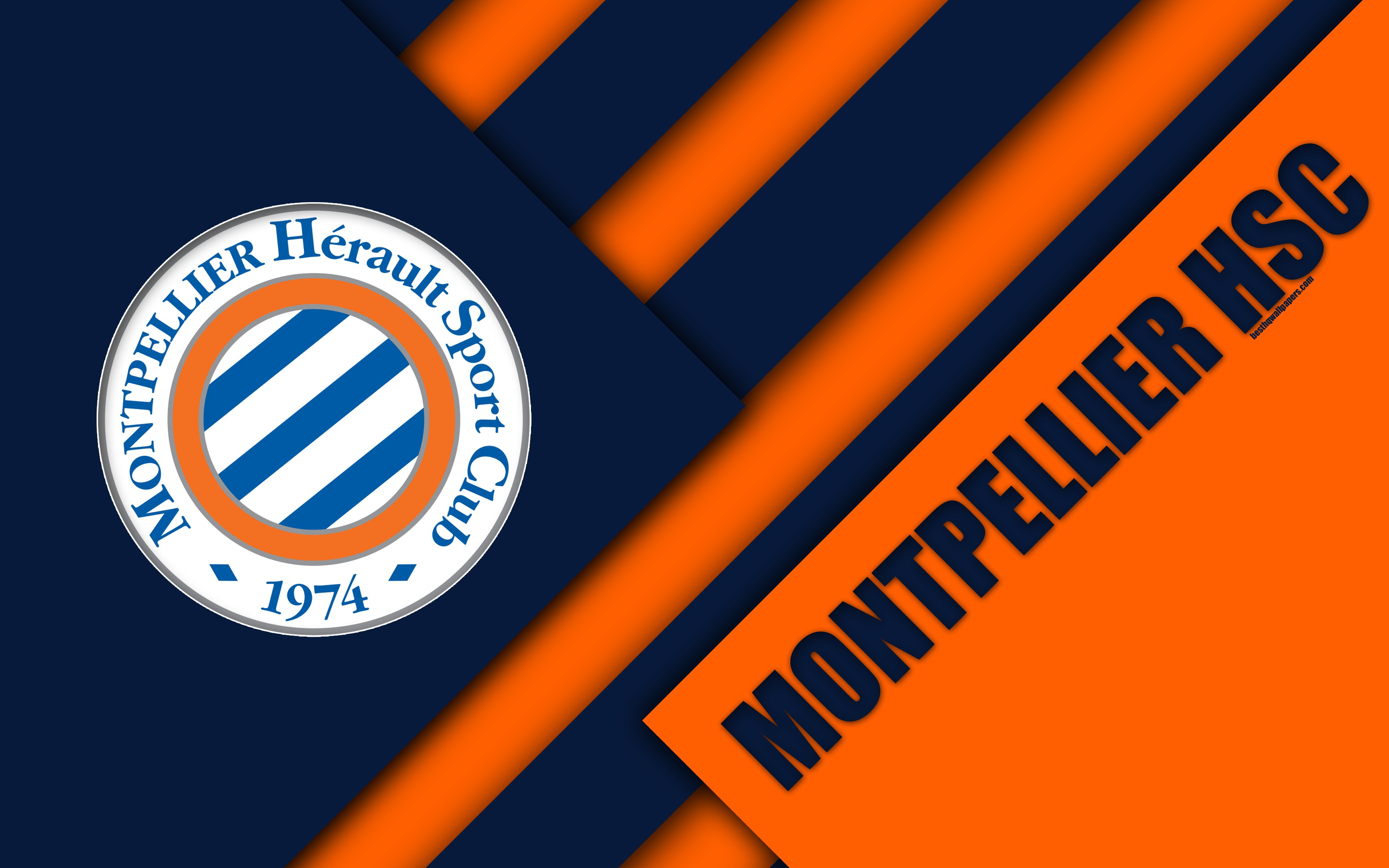 Download wallpapers Montpellier HSC, 4k, material design, logo