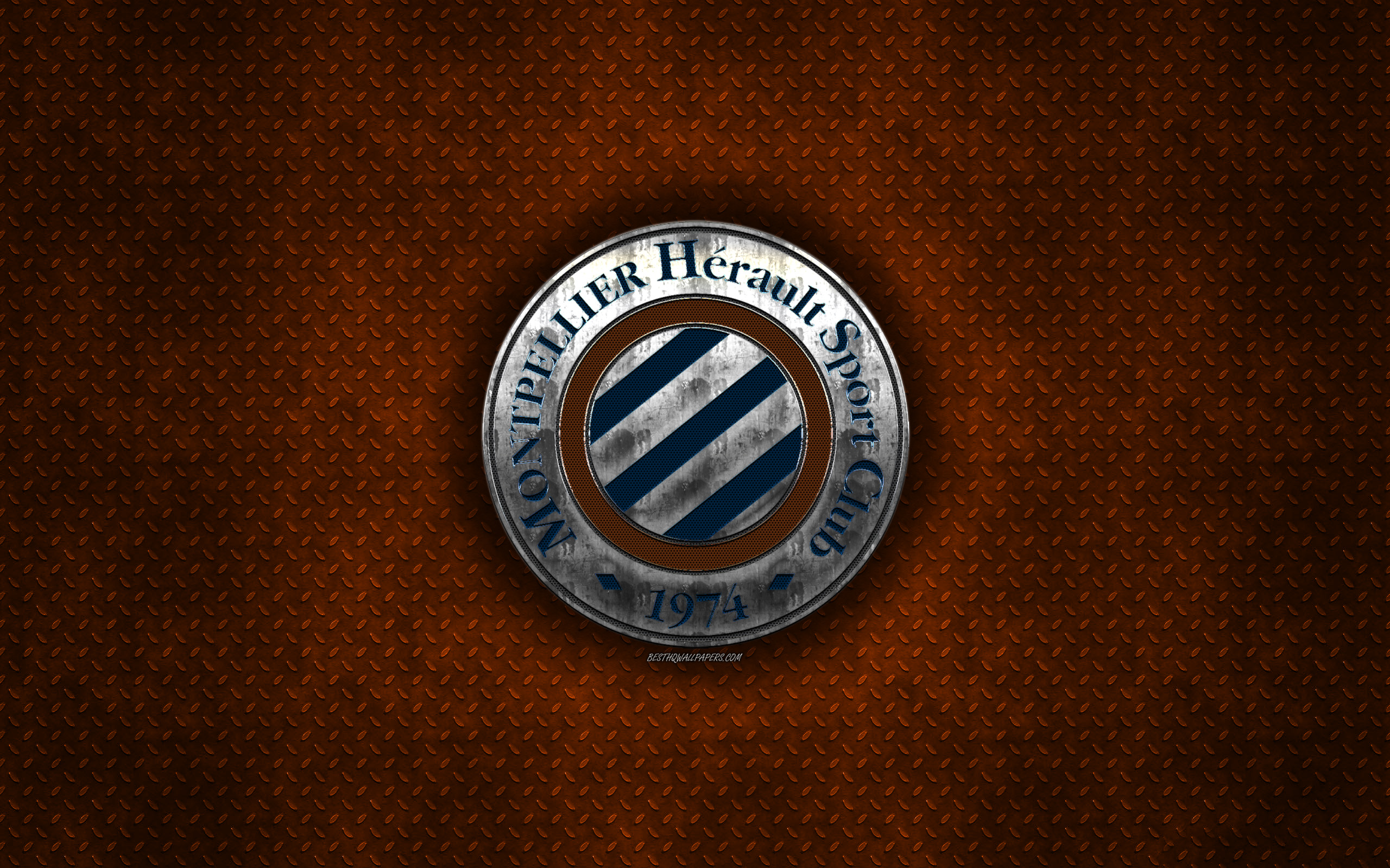 Download wallpapers HSC Montpellier, French football club, orange