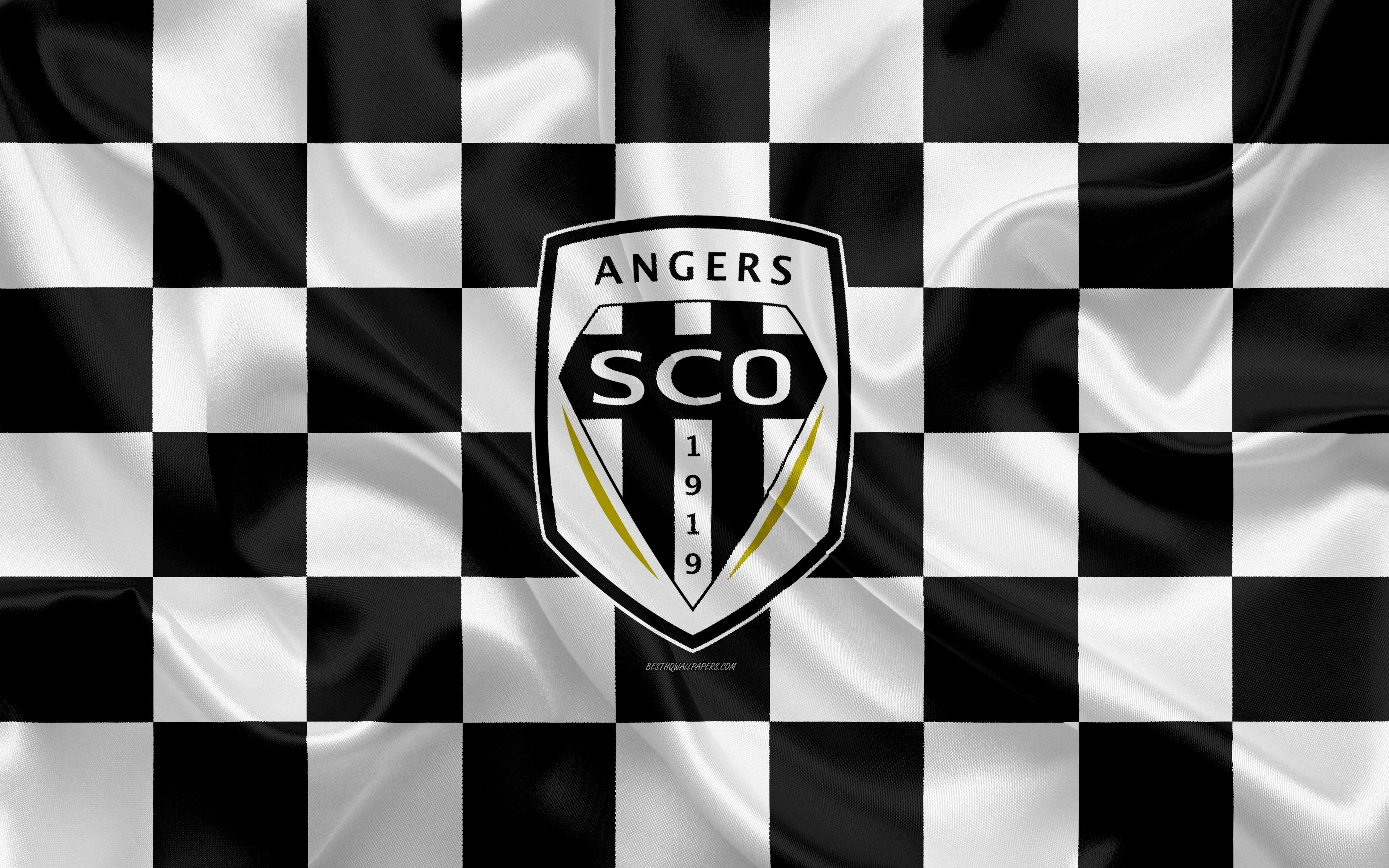 Download wallpapers Angers SCO, 4k, logo, creative art, white black ...