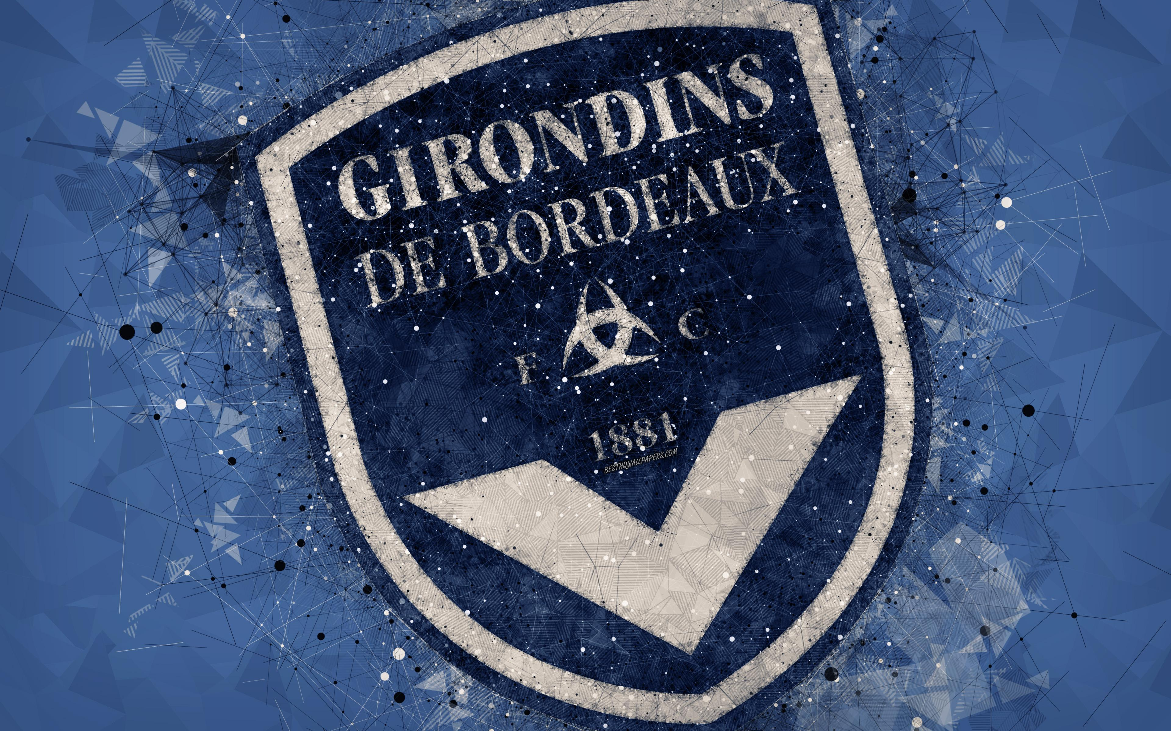 Download wallpapers FC Girondins Bordeaux, 4k, geometric art, French ...
