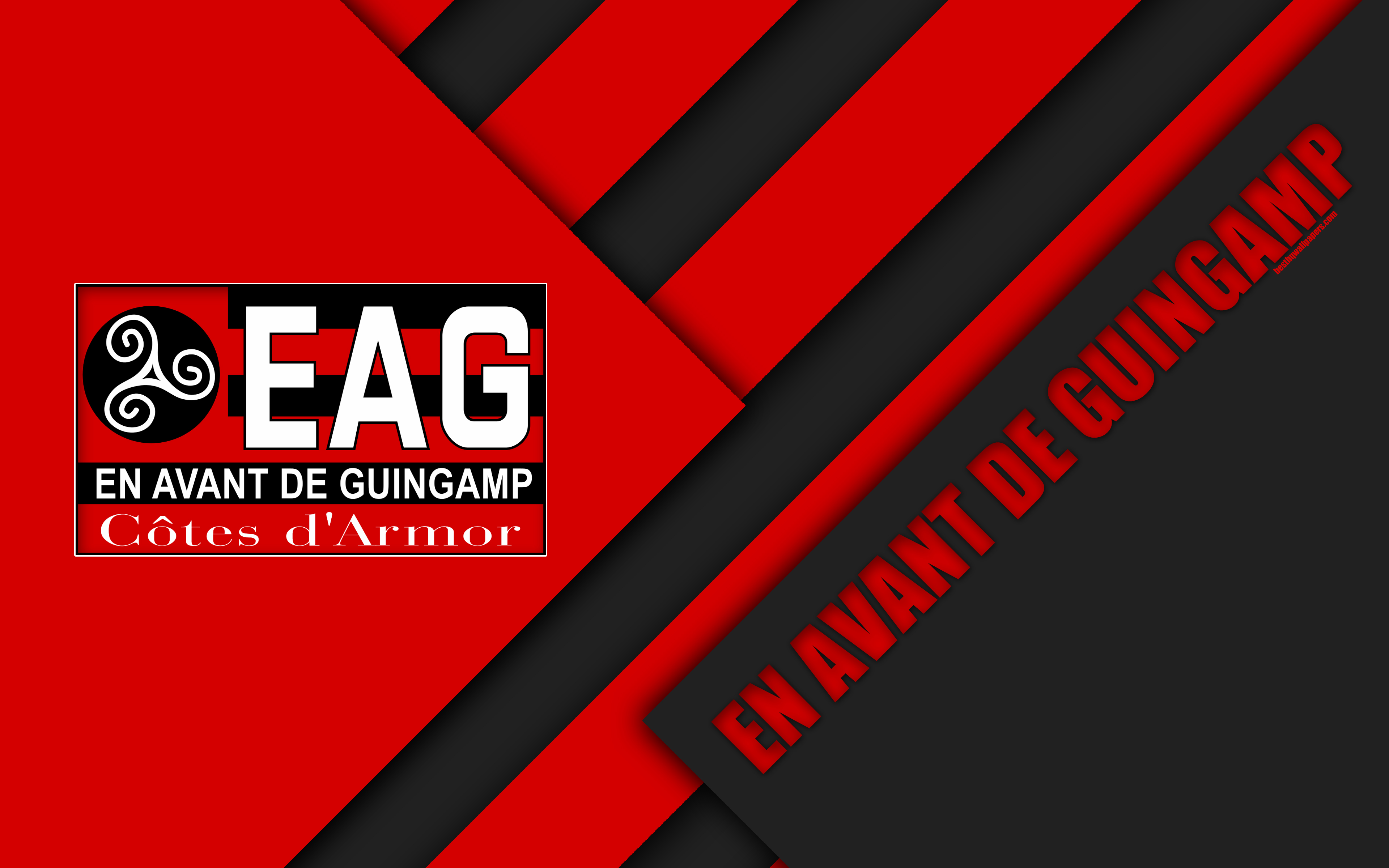 Download wallpapers En Avant de Guingamp, 4k, material design