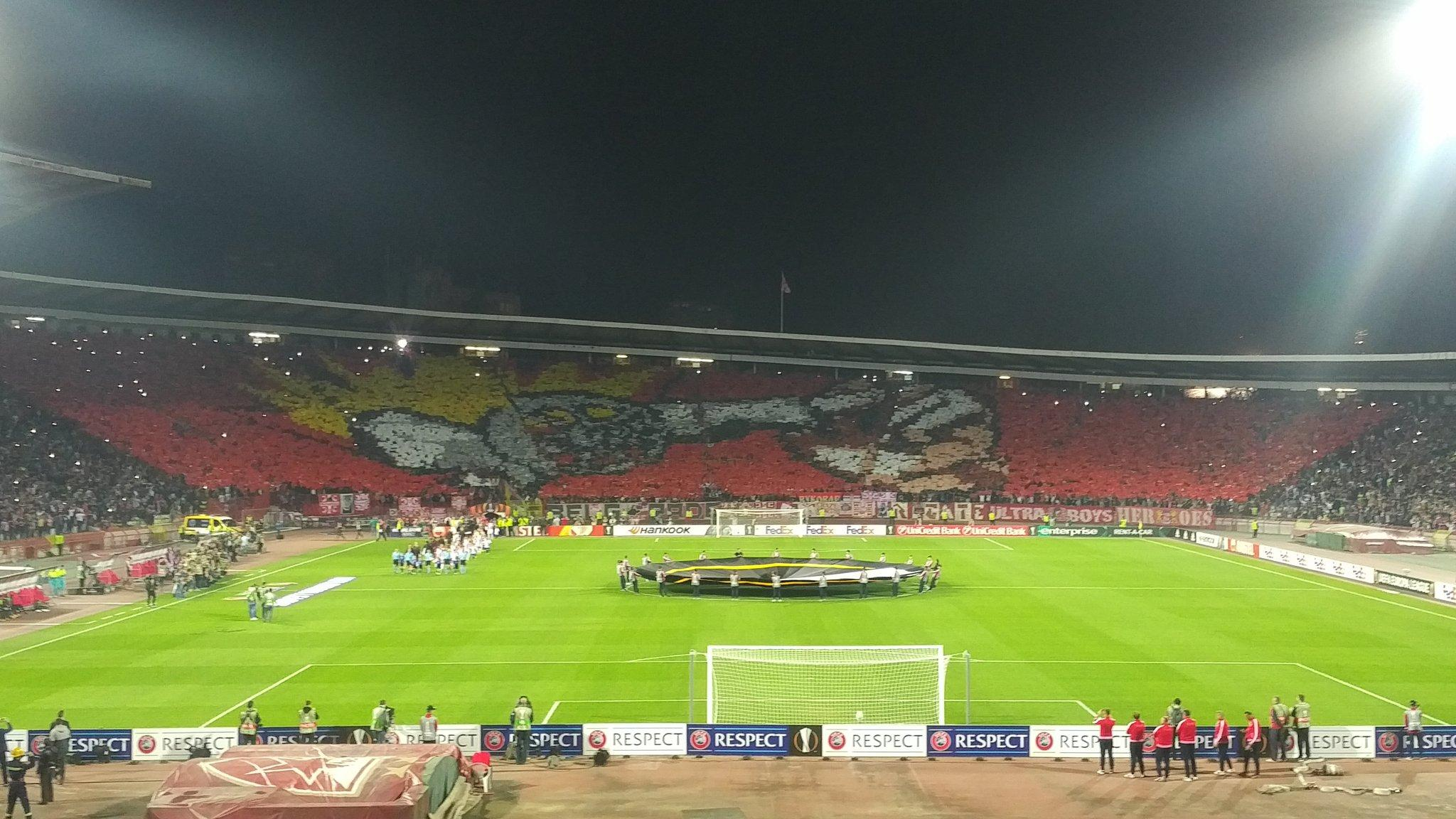Interesting choreography before the match by Red Star fans :) : Gunners