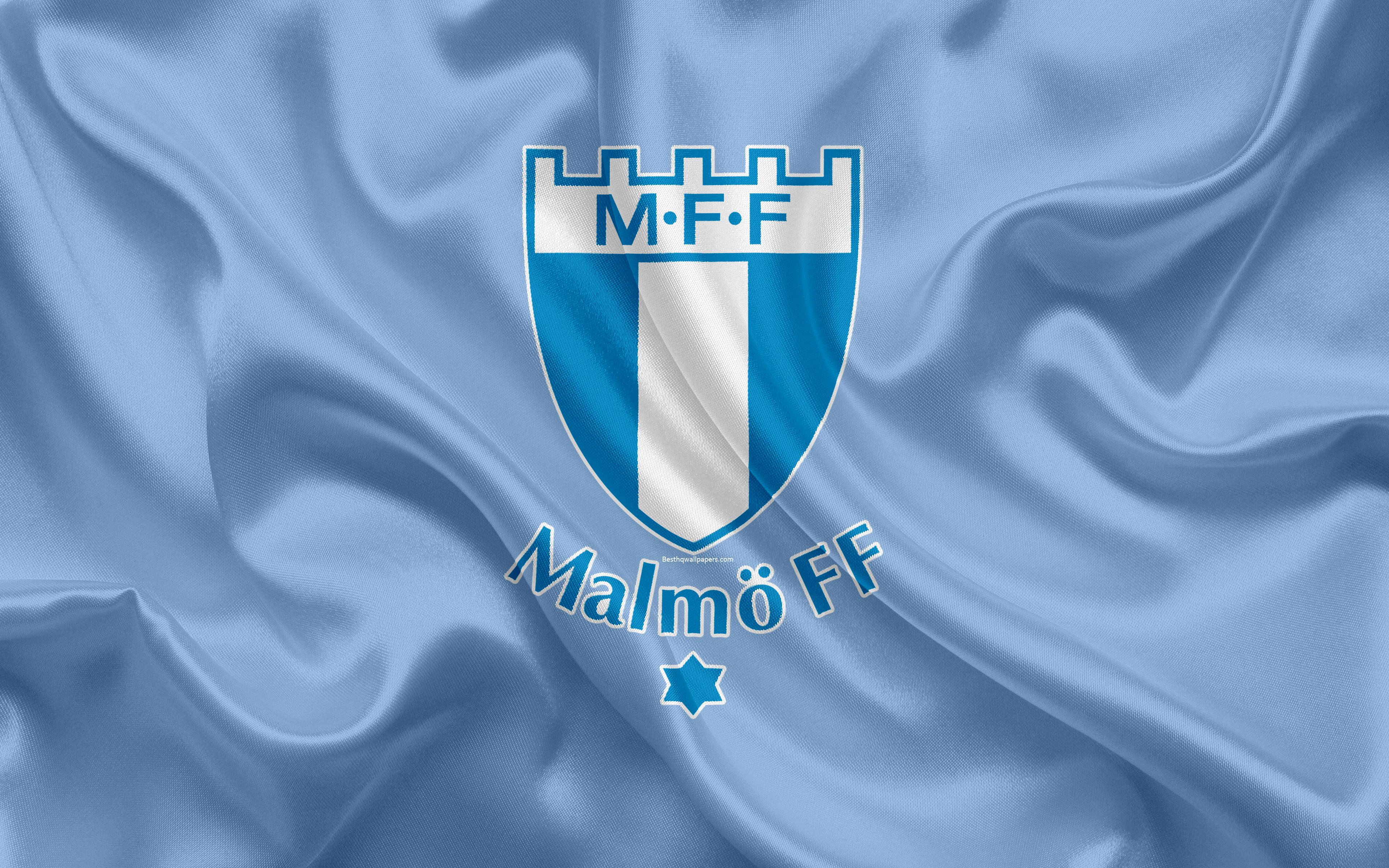 Download wallpapers Malmo FF FC, 4k, Swedish football club, logo