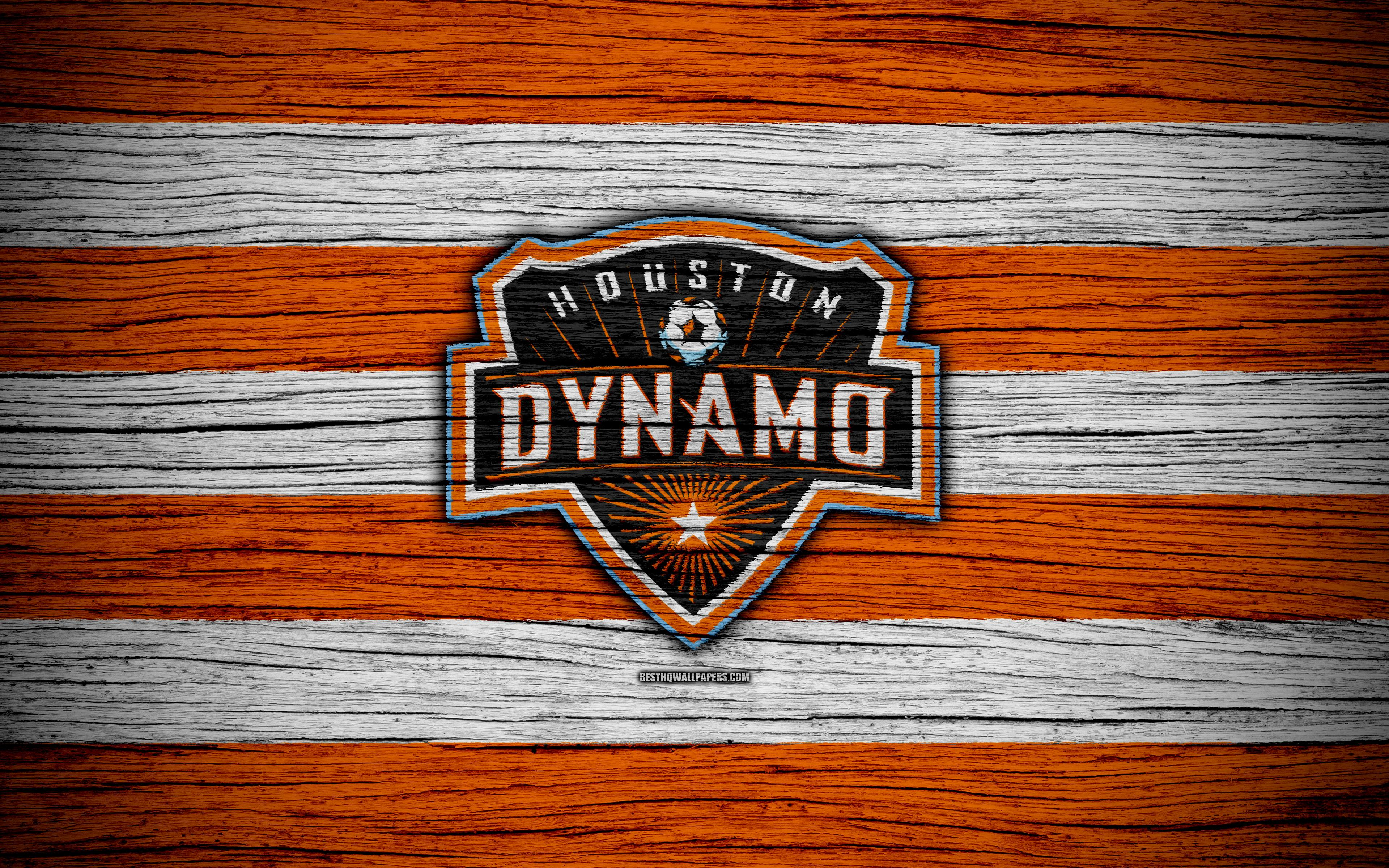 Download wallpapers Houston Dynamo, 4k, MLS, wooden texture, Western