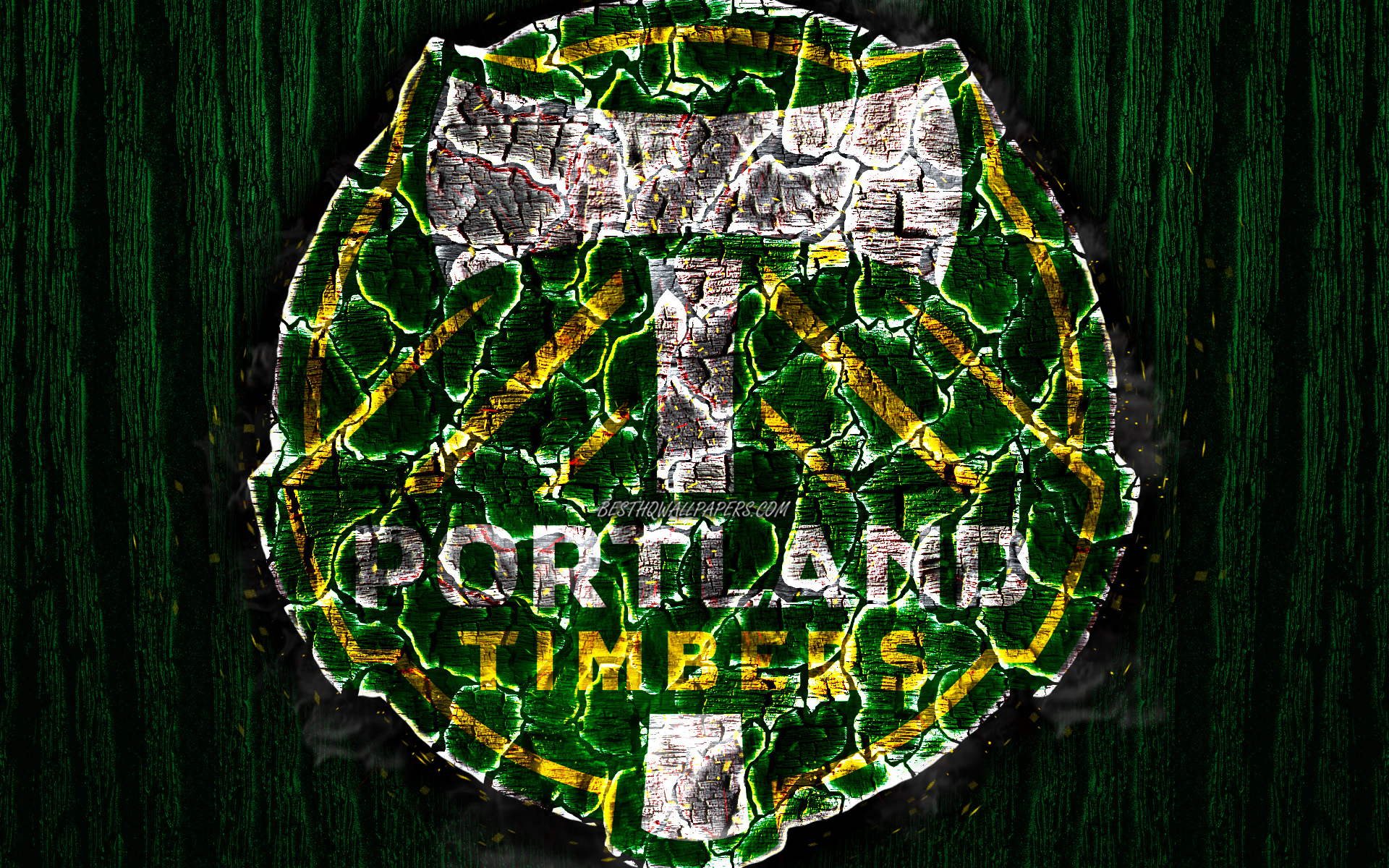 Download wallpapers Portland Timbers FC, scorched logo, MLS, green