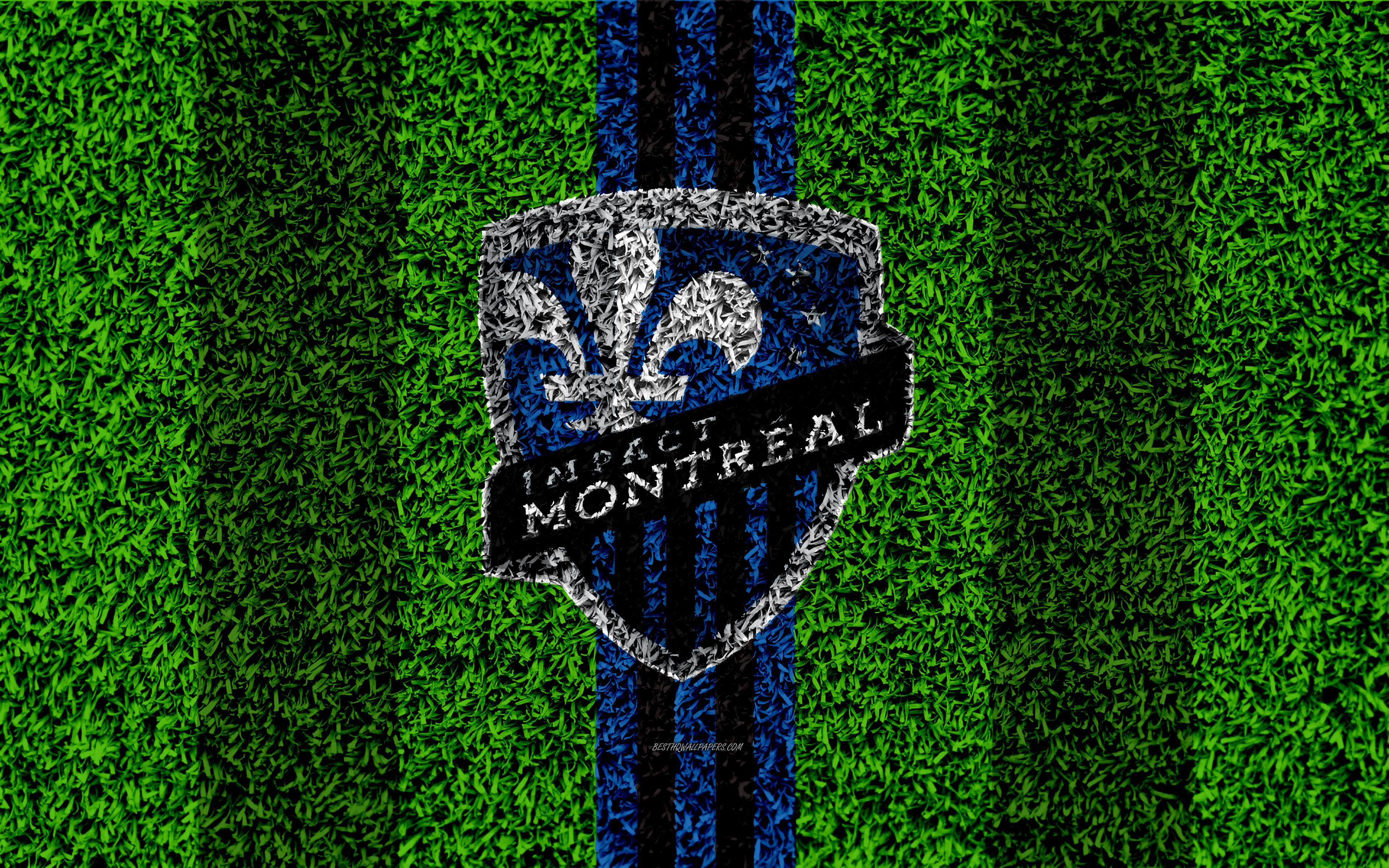 Download wallpapers Montreal Impact FC, 4k, MLS, football lawn, logo