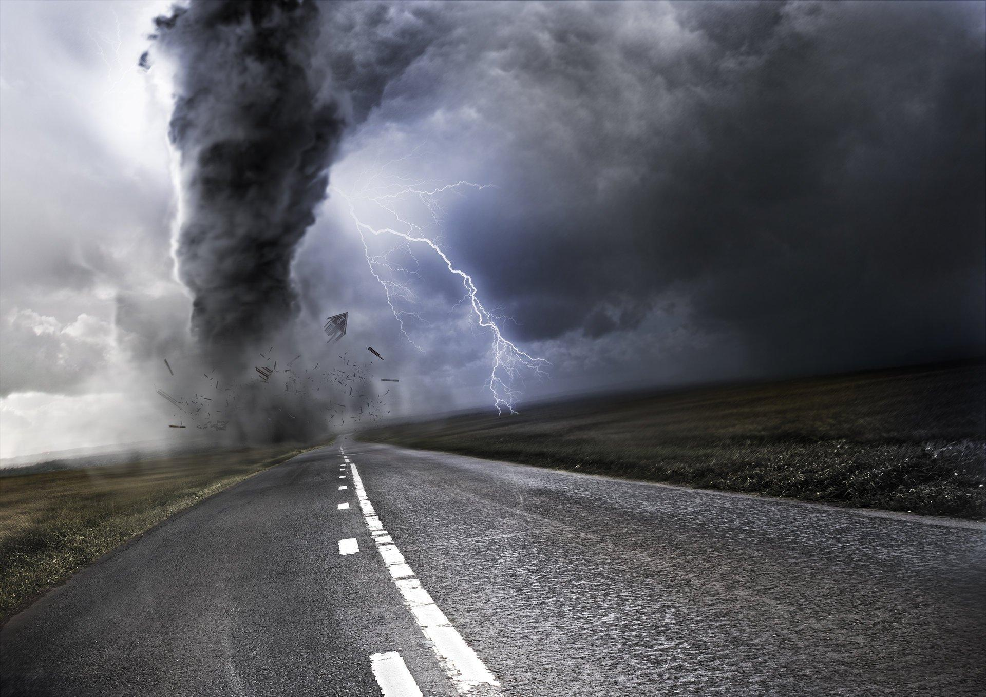 road counting lightning tornado HD wallpapers