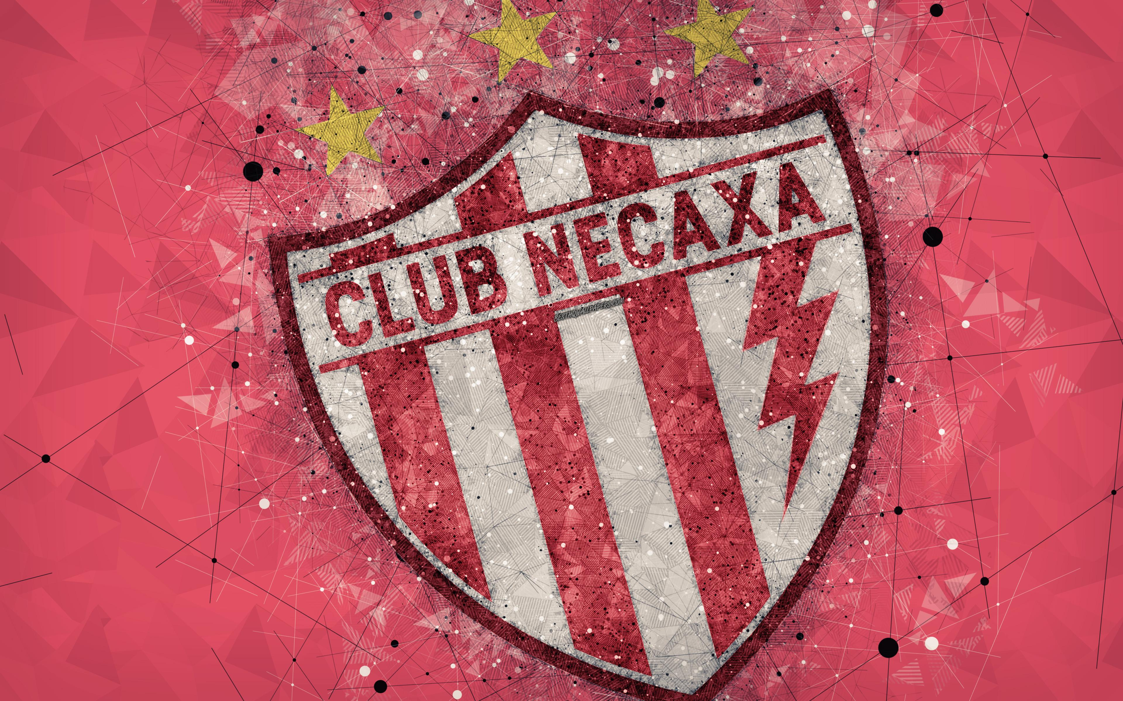 Download wallpapers Club Necaxa, 4k, geometric art, logo, Mexican