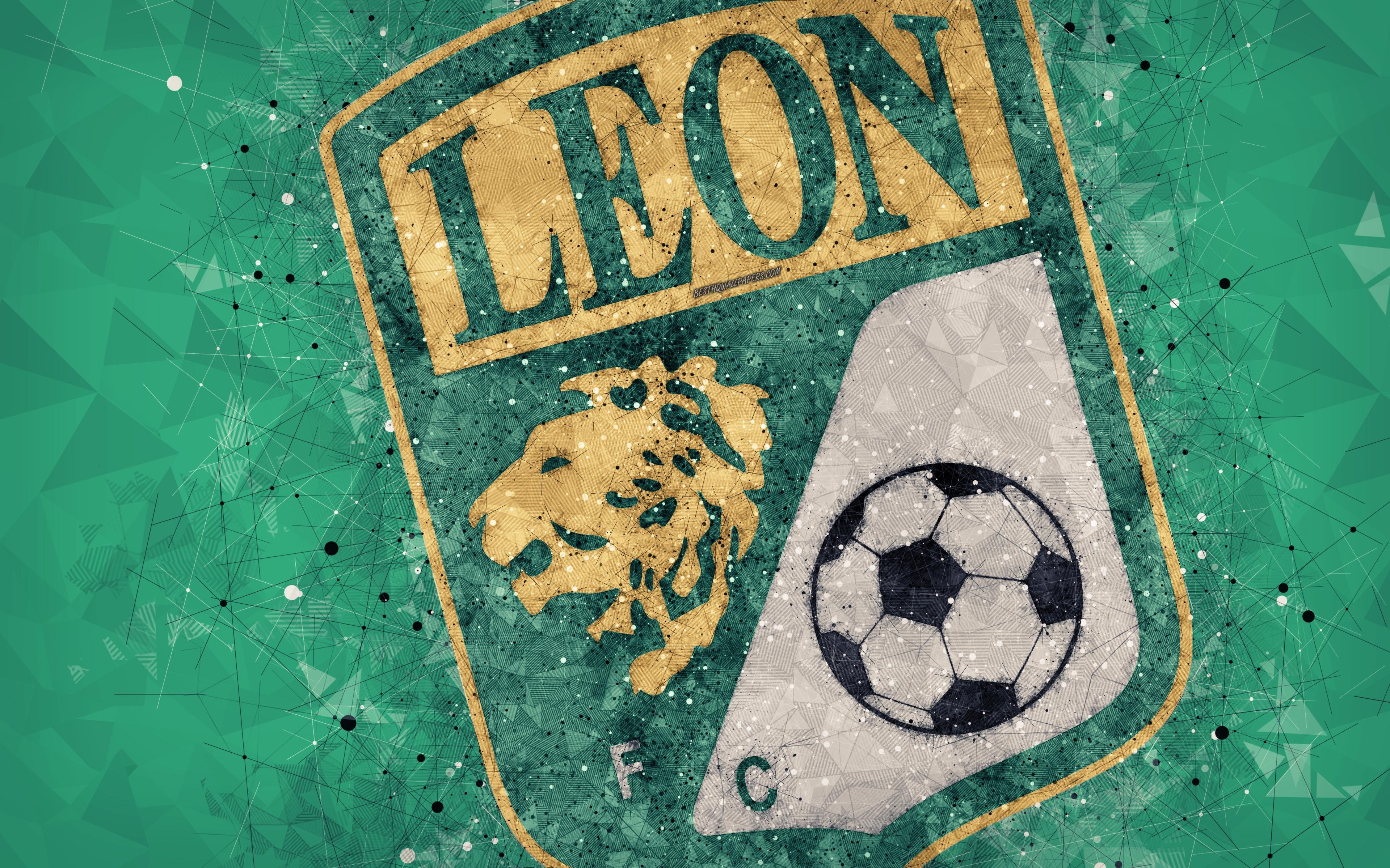 Download wallpapers Club Leon, 4k, geometric art, logo, Mexican ...