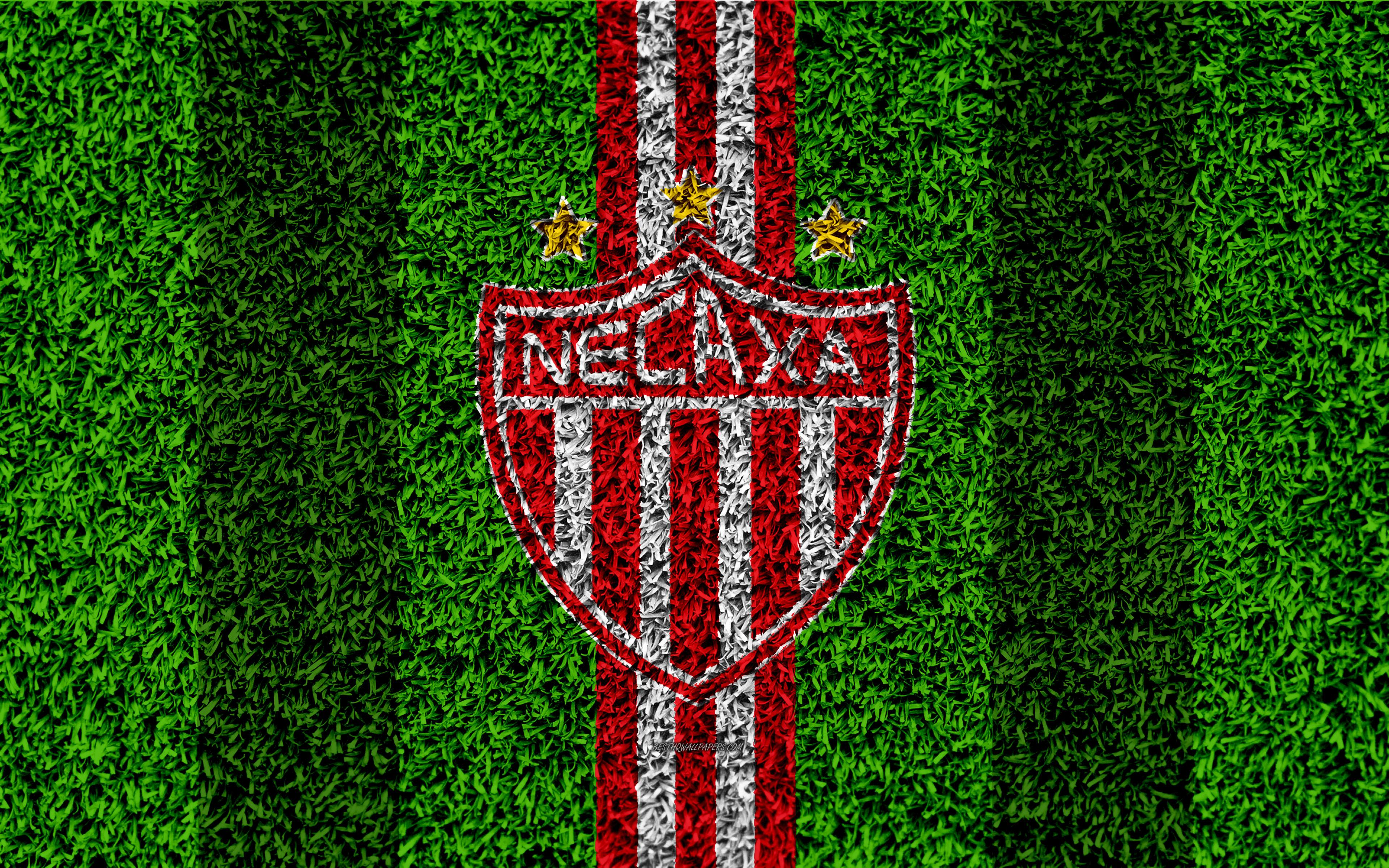 Download wallpapers Club Necaxa, 4k, football lawn, logo, Mexican