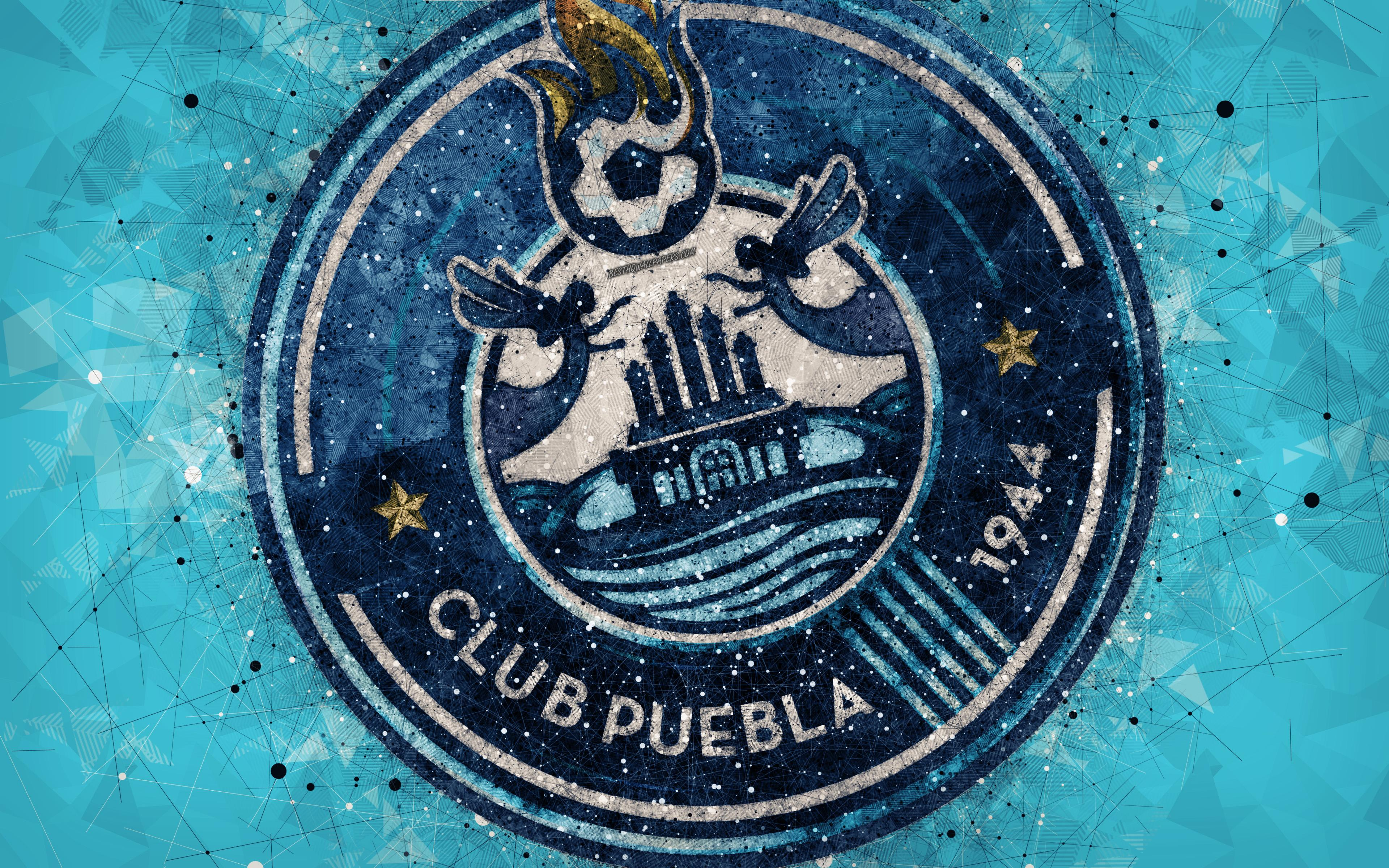 Download wallpapers Puebla FC, 4k, geometric art, logo, Mexican ...