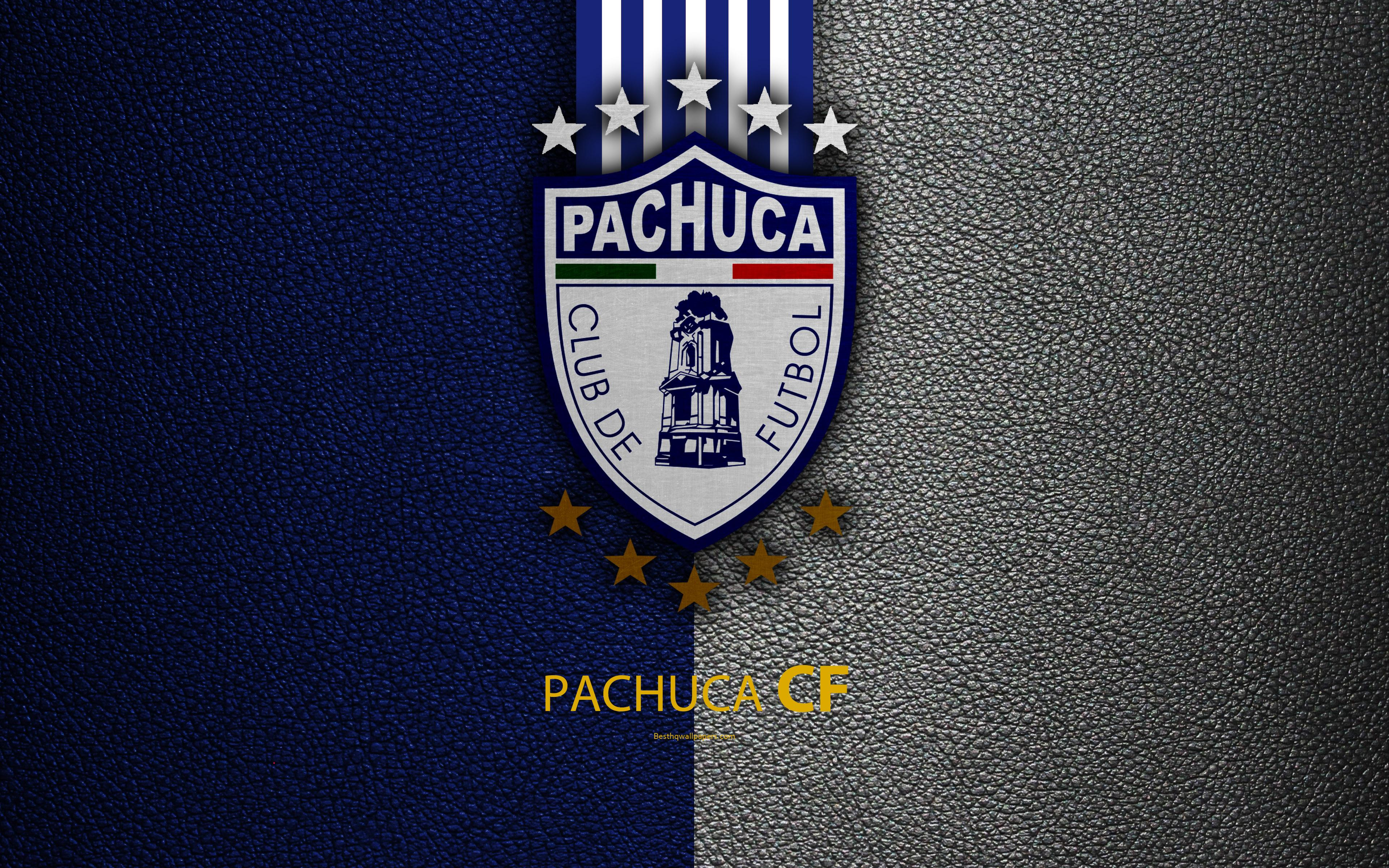 Download wallpapers CF Pachuca, 4k, leather texture, logo, Mexican