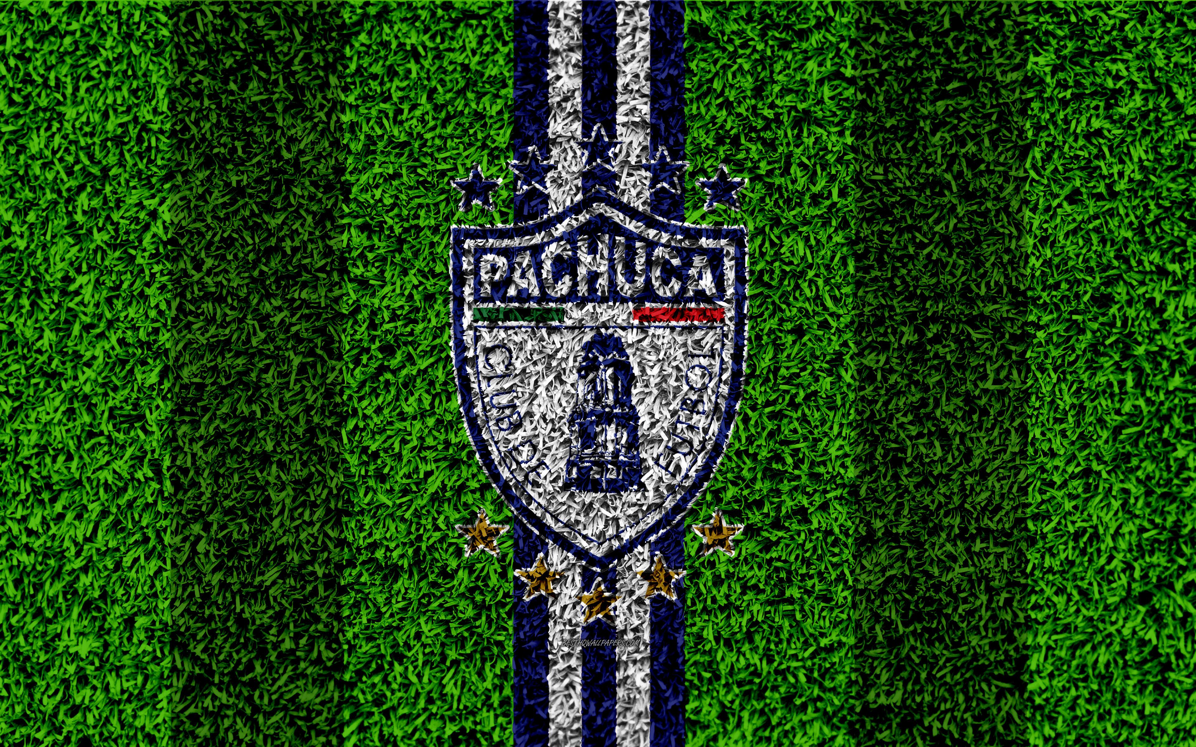 Download wallpapers CF Pachuca, 4k, football lawn, logo, Mexican