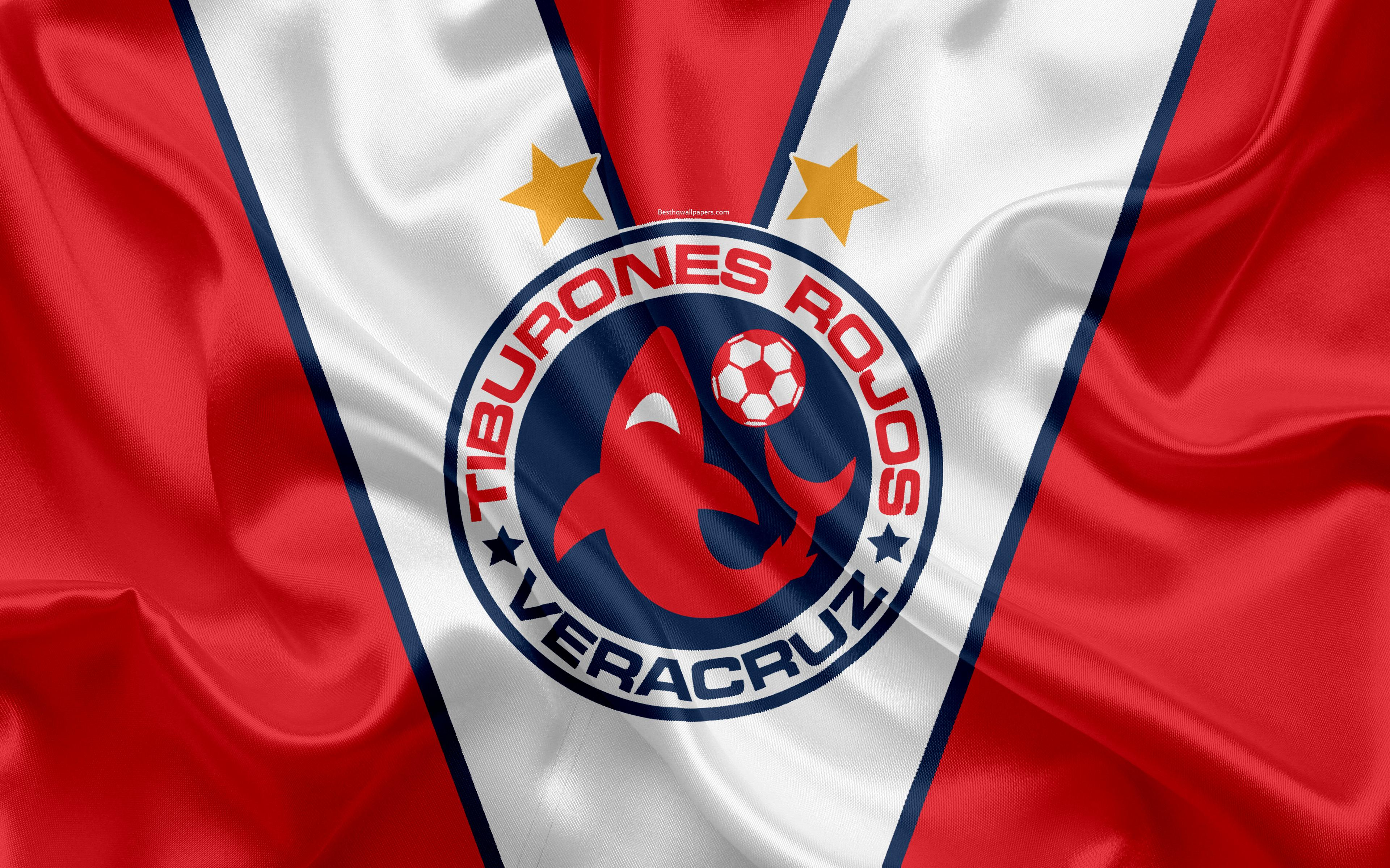 Download wallpapers Veracruz FC, Tiburones Rojos de Veracruz, 4k
