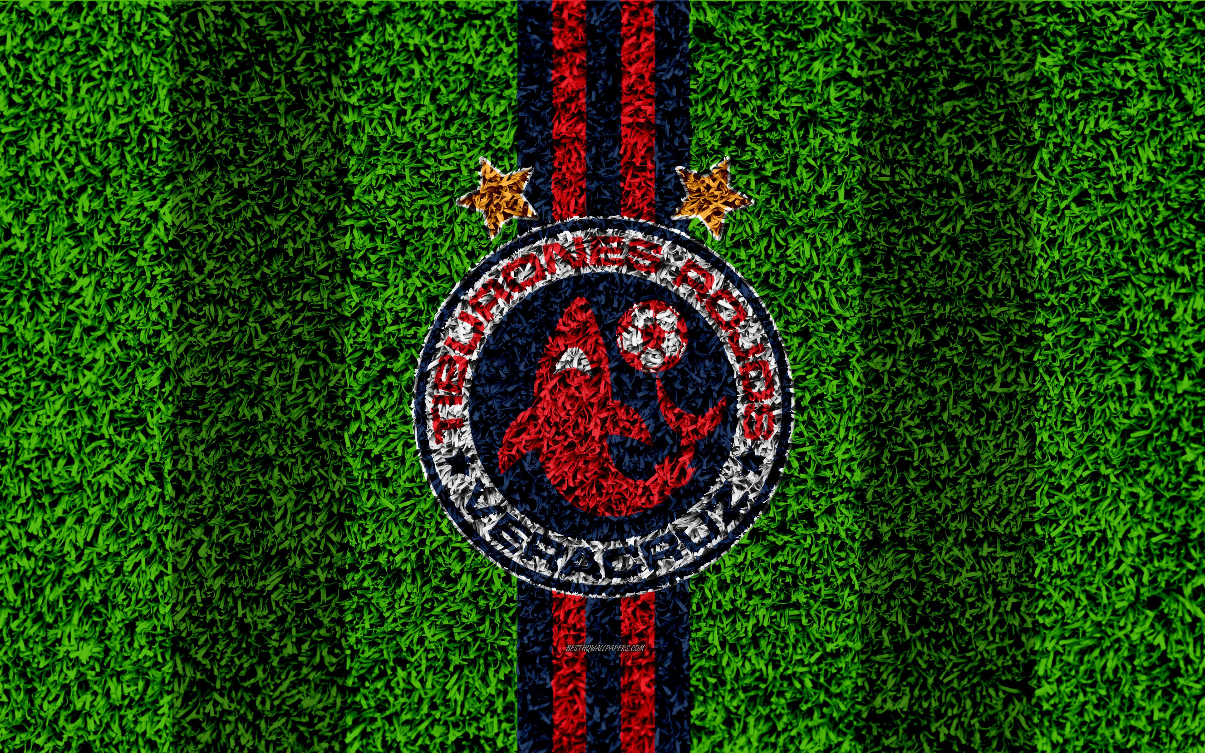 Download wallpapers Veracruz FC, 4k, football lawn, logo, Mexican