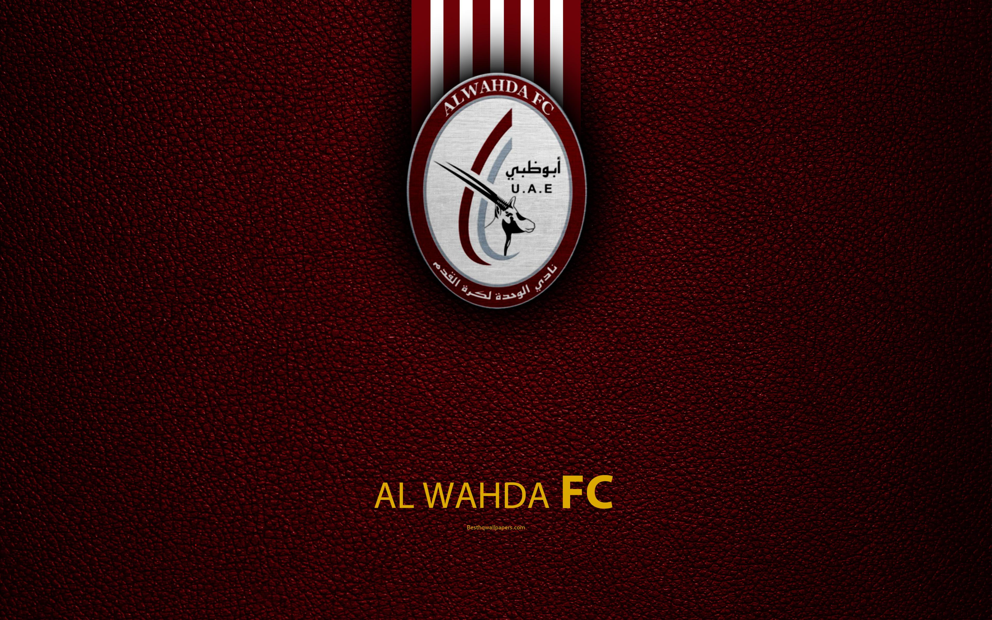 Download wallpapers Al Wahda FC, 4K, logo, football club, leather