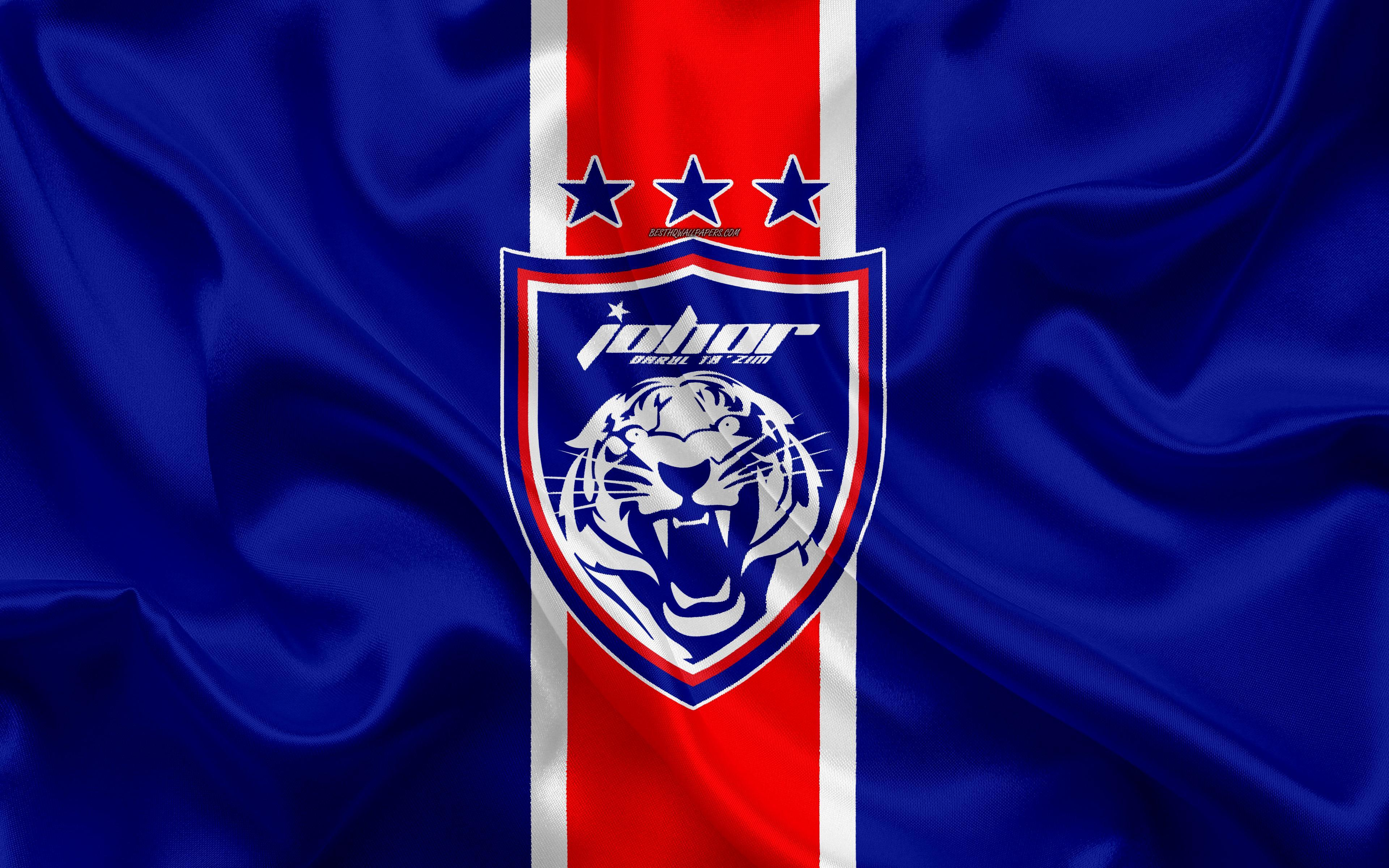 Download wallpapers Johor Darul Tazim FC, 4k, logo, silk texture