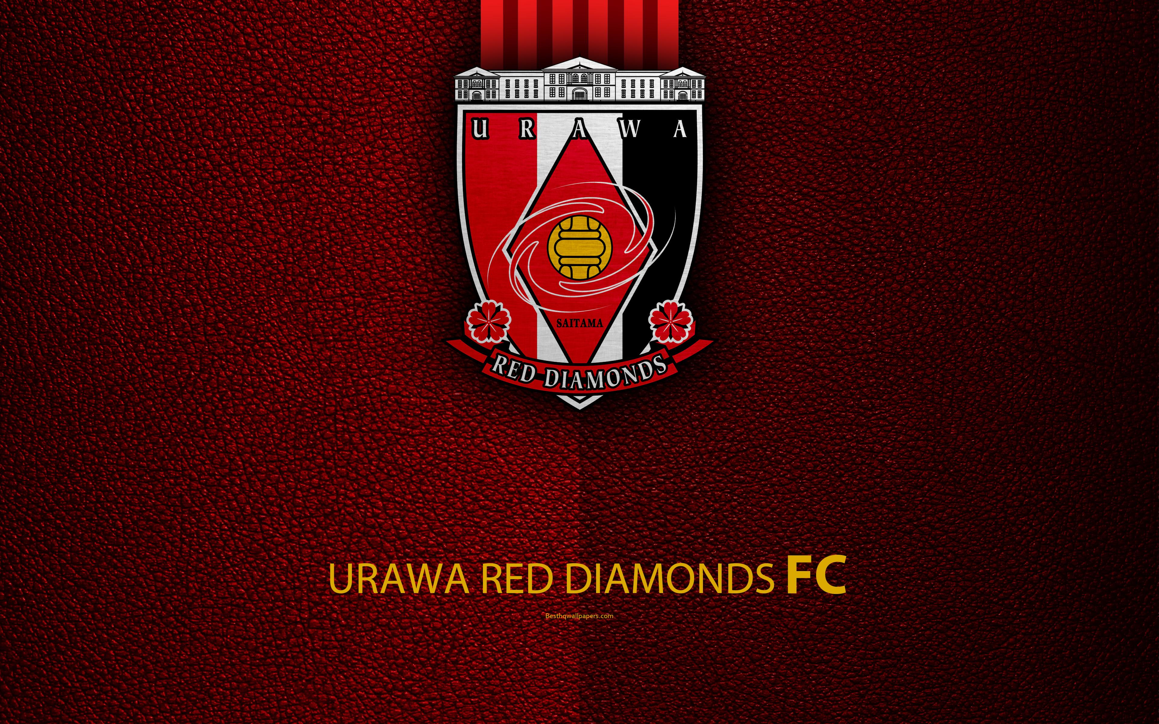 Download wallpapers Urawa Red Diamonds FC, 4k, logo, leather texture ...