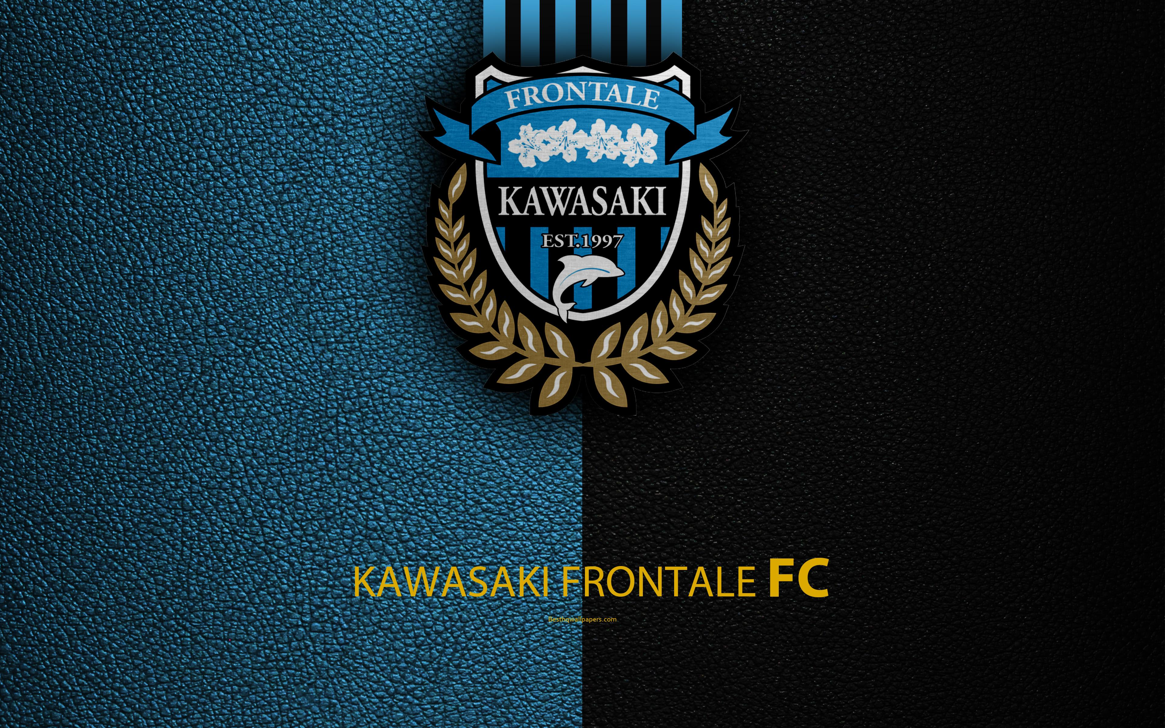 Download wallpapers Kawasaki Frontale FC, 4k, logo, leather texture