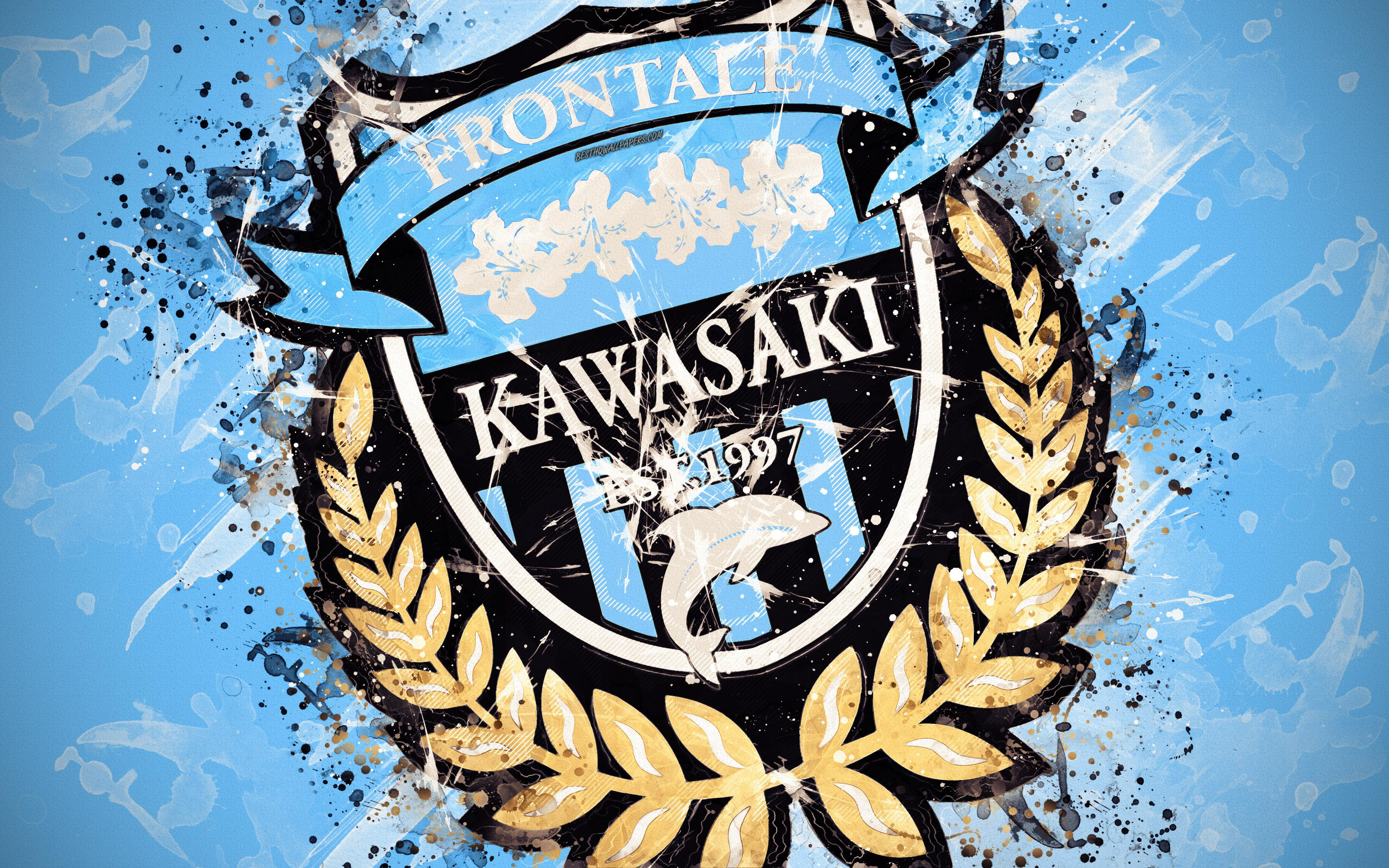 Download wallpapers Kawasaki Frontale FC, 4k, paint art, logo