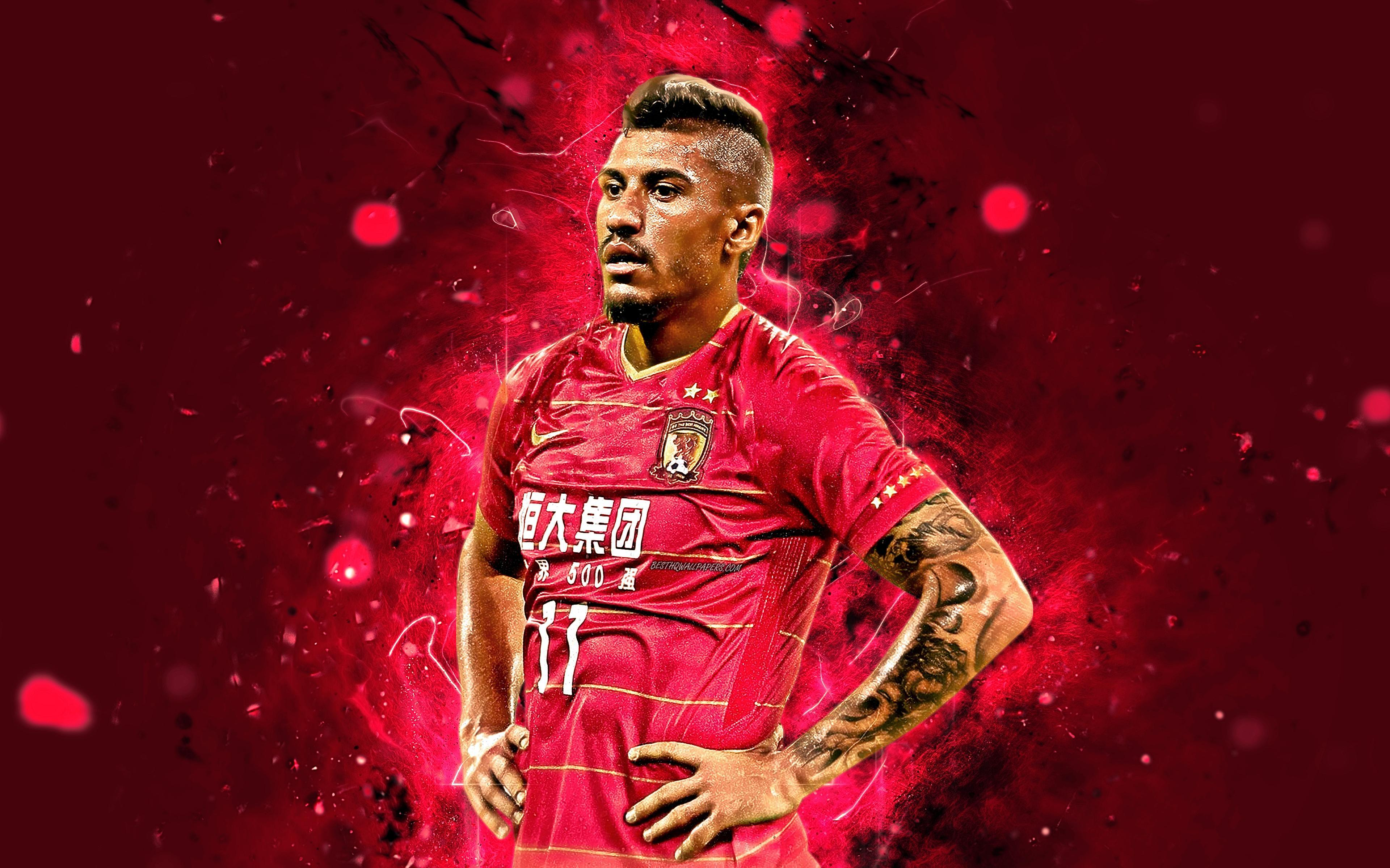 Download wallpapers 4k, Paulinho, abstract art, football stars