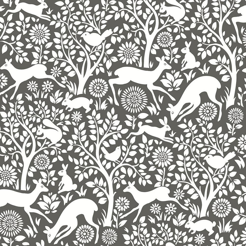 A Street Prints Woodland Meadow Grey Wallpaper