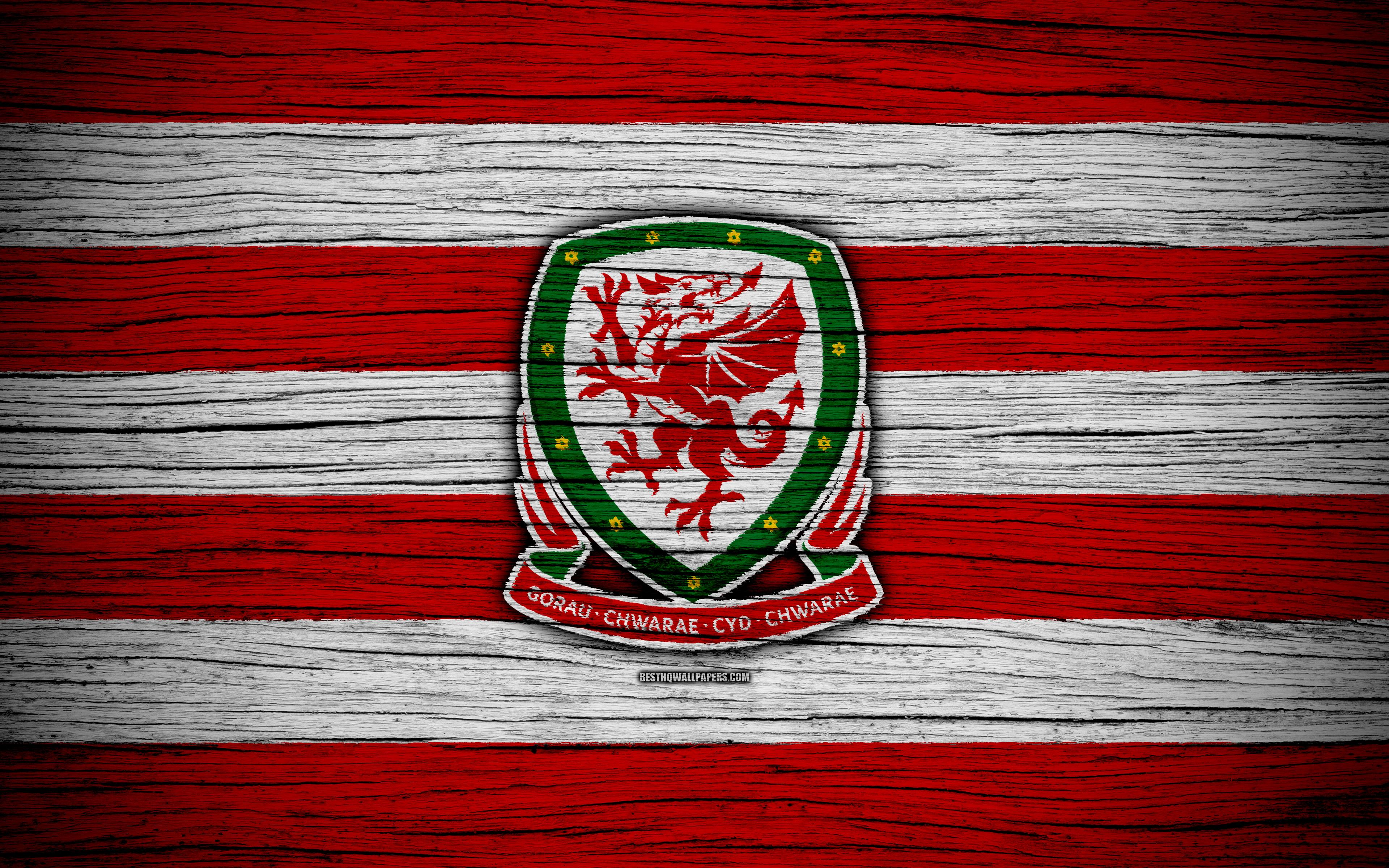 Download wallpapers 4k, Wales national football team, logo, UEFA