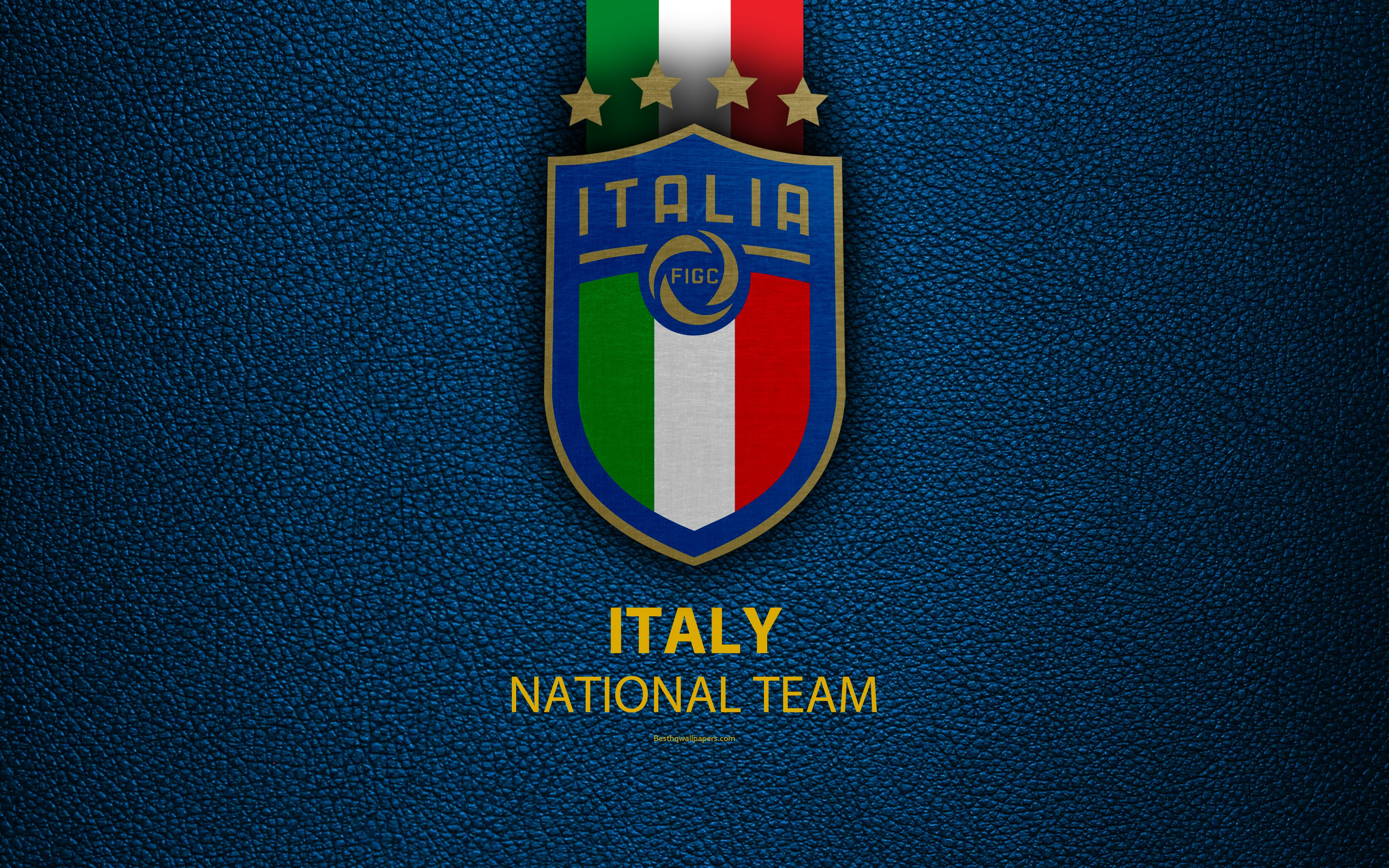 Download wallpapers Italy national football team, 4k, blue leather