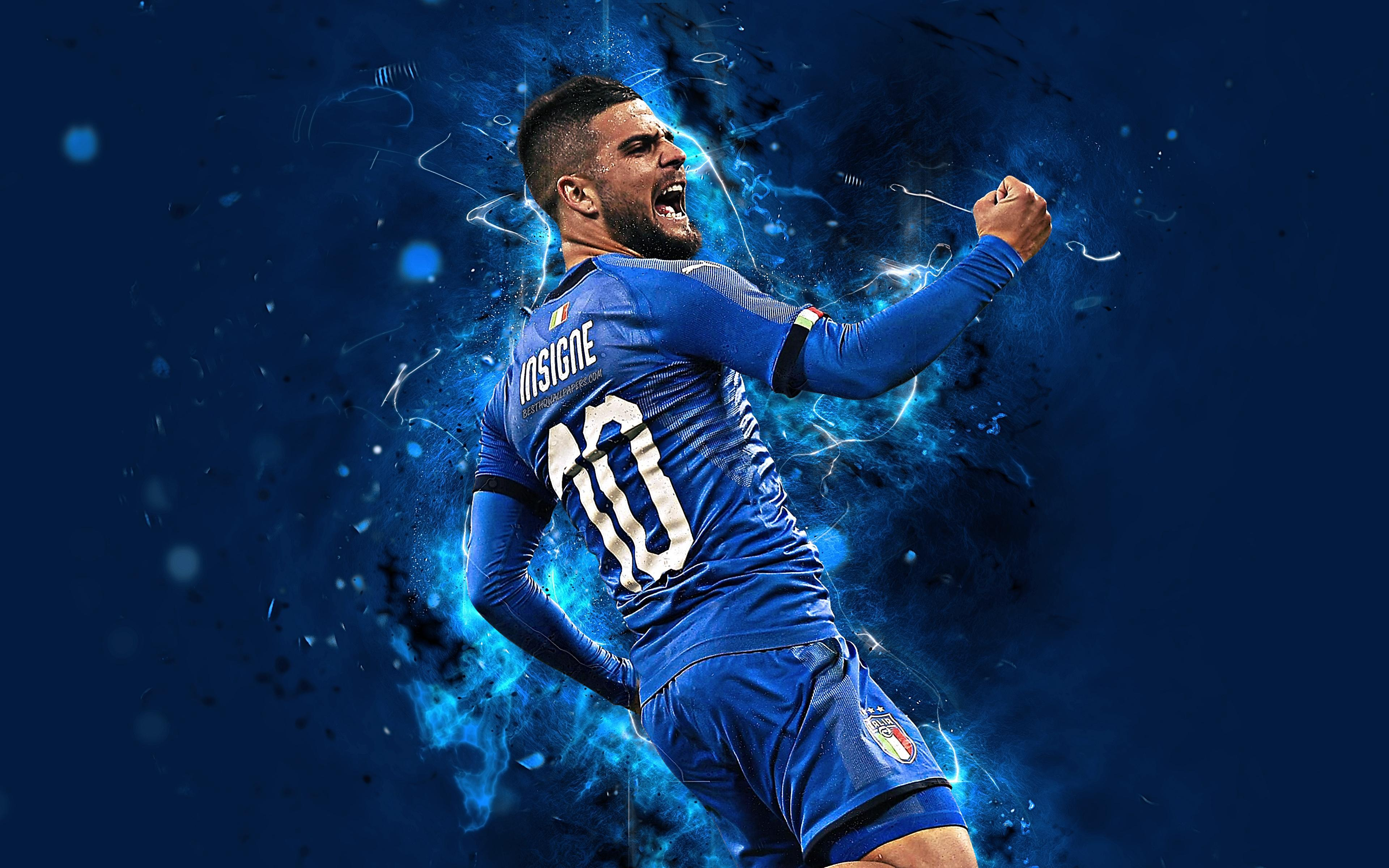 Download wallpapers 4k, Lorenzo Insigne, abstract art, Italy