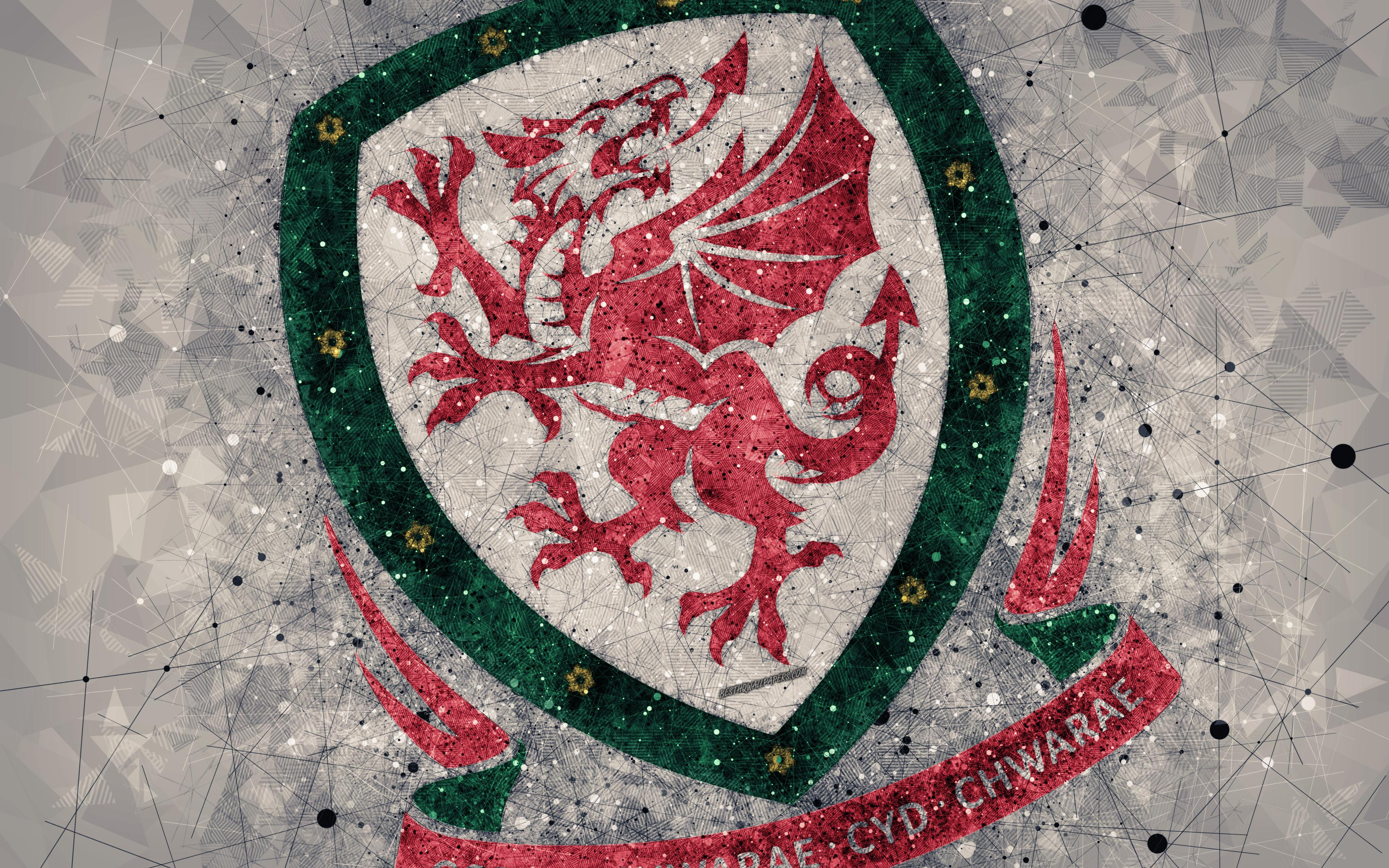 Download wallpapers Wales national football team, 4k, geometric art