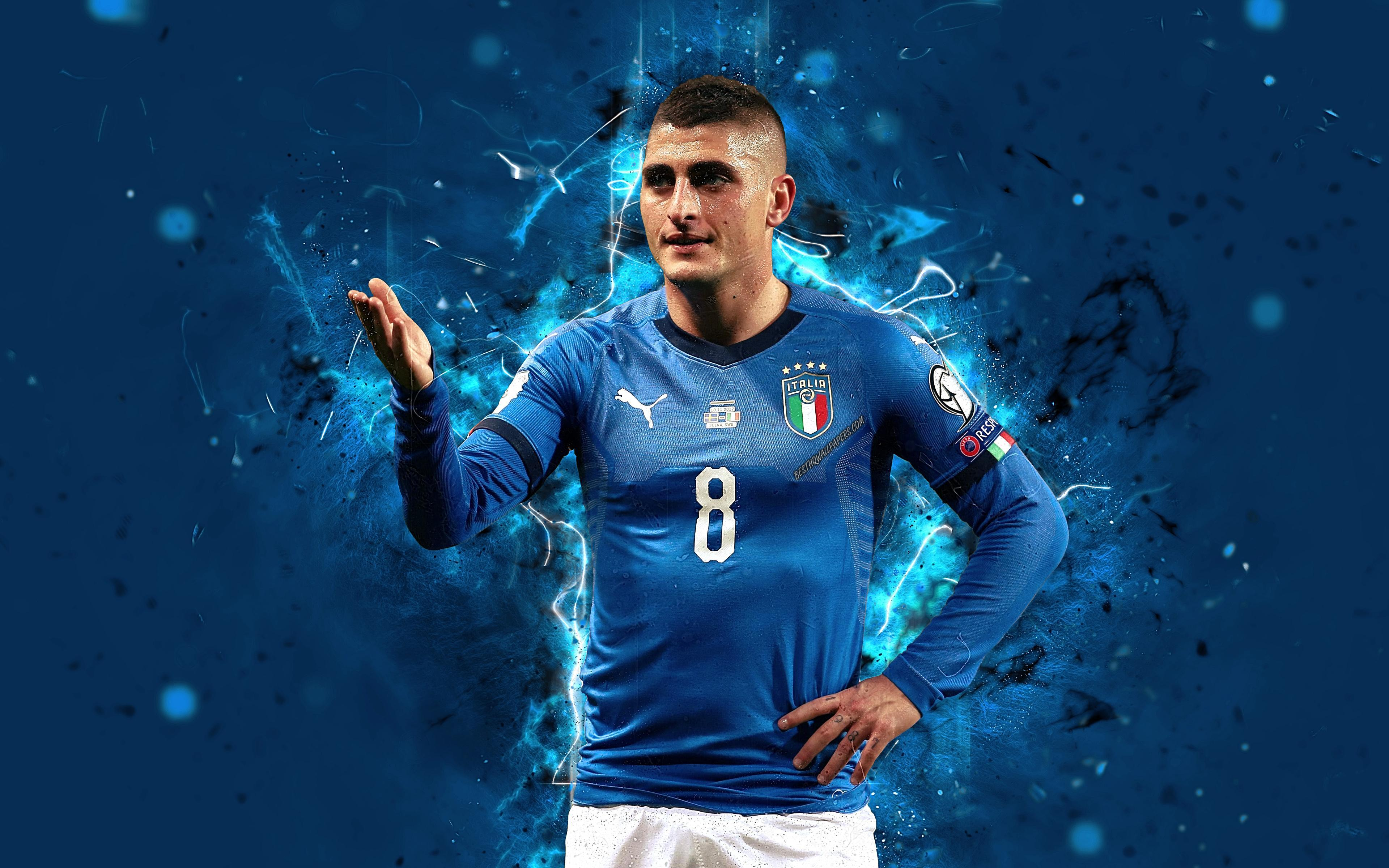 Download wallpapers 4k, Marco Verratti, abstract art, Italy National
