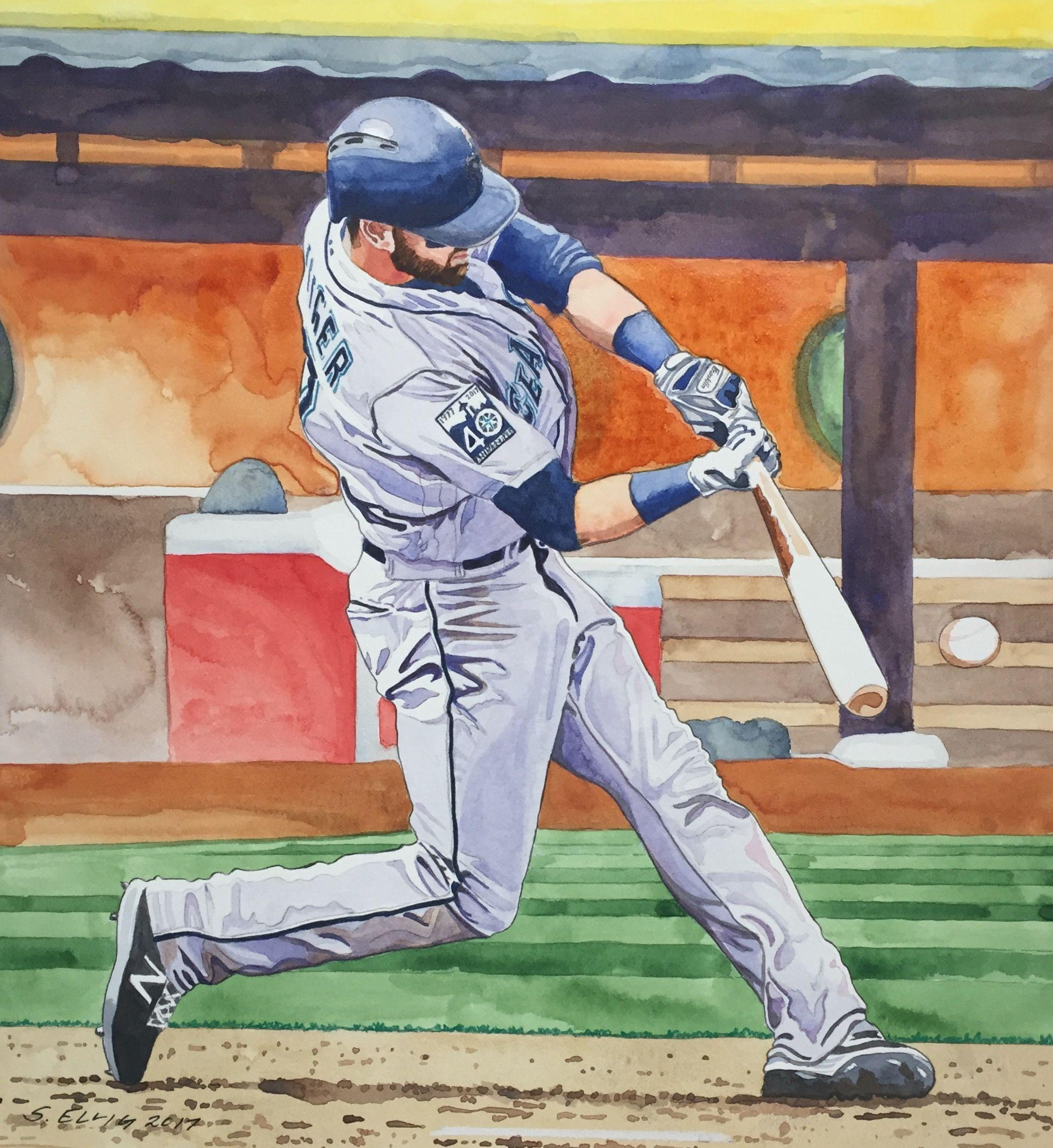 Mitch Haniger, Seattle Mariners. Watercolor by Scott Ellig.