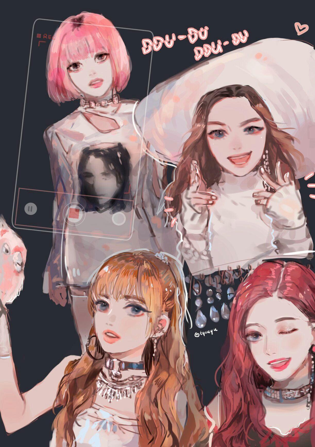 blackpink anime kpop pink pop fan kill jennie wallpapers fanart dessin manga killthislove lockscreen homescreen tto lisa rose korean chibi