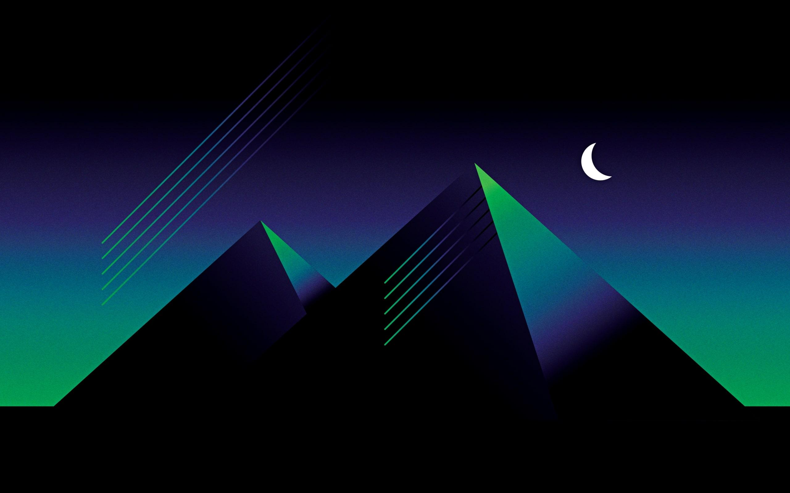 Wallpapers of Abstract, Pyramid, Minimalism, Blue, Black, Green