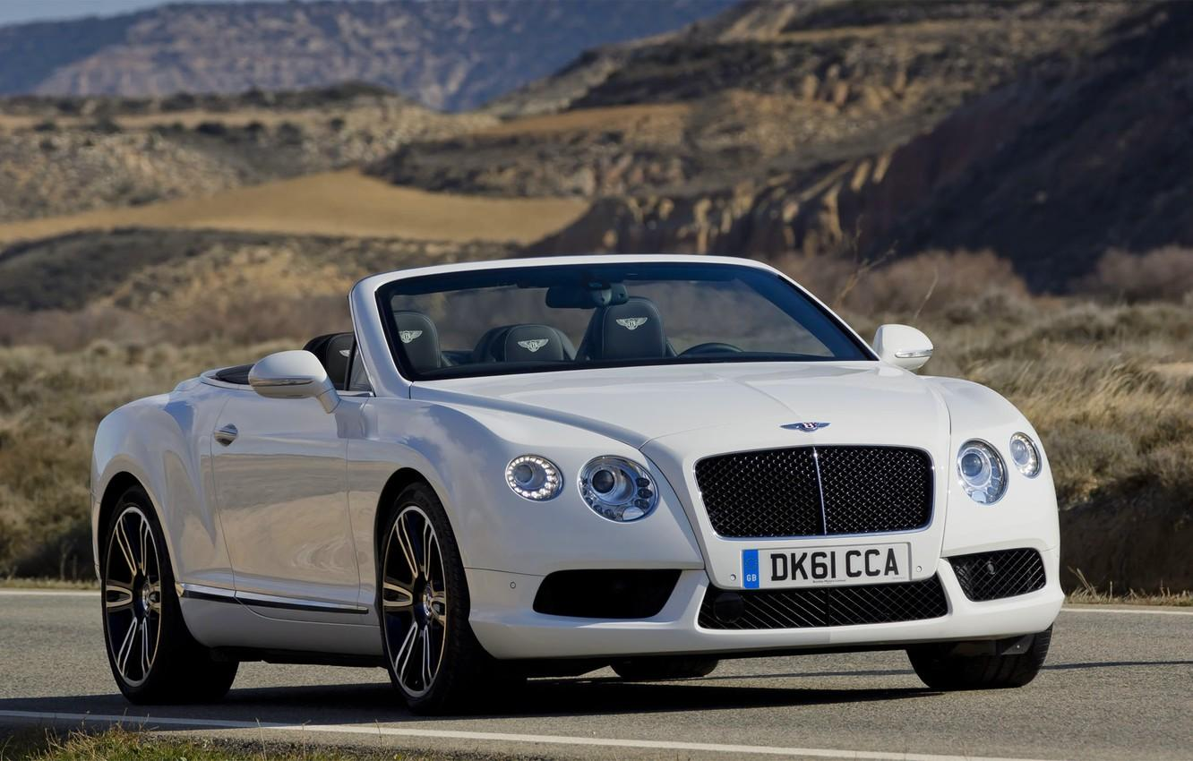 Wallpapers Bentley, Continental, White, Convertible, Grille, The hood