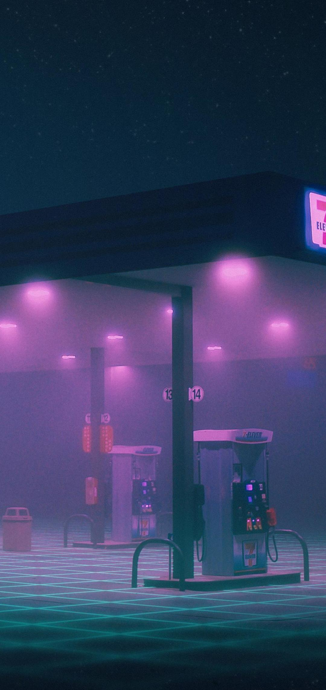 1080x2280 Gas Station Minimalist One Plus 6,Huawei p20,Honor view 10