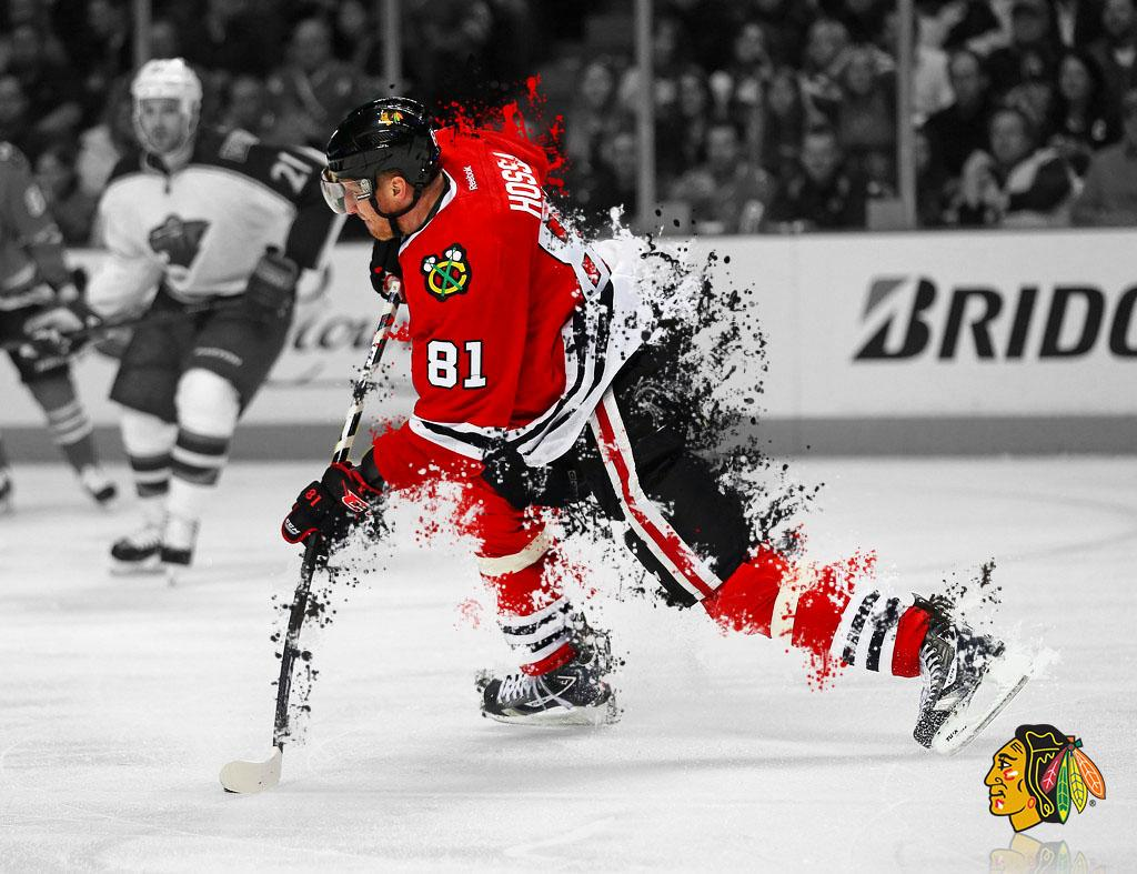 I dabble in Photoshop; here's a Hossa wallpapers I made. : hawks