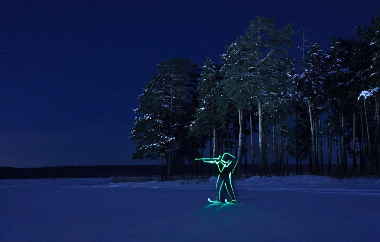 Wallpapers winter, forest, night, silhouette, Olympics, biathlon