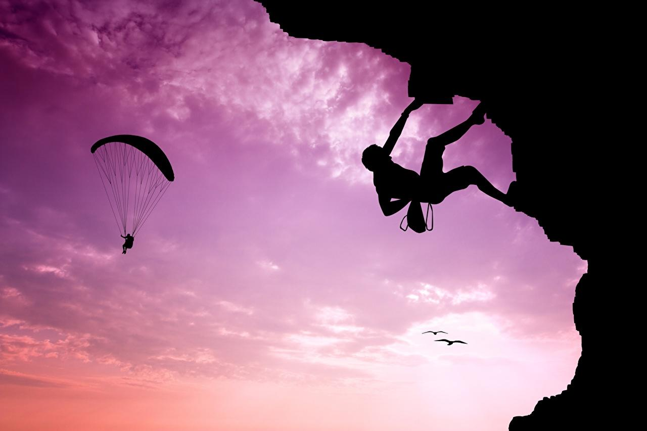 Wallpapers Climber Silhouette Sport Mountaineering Parachuting