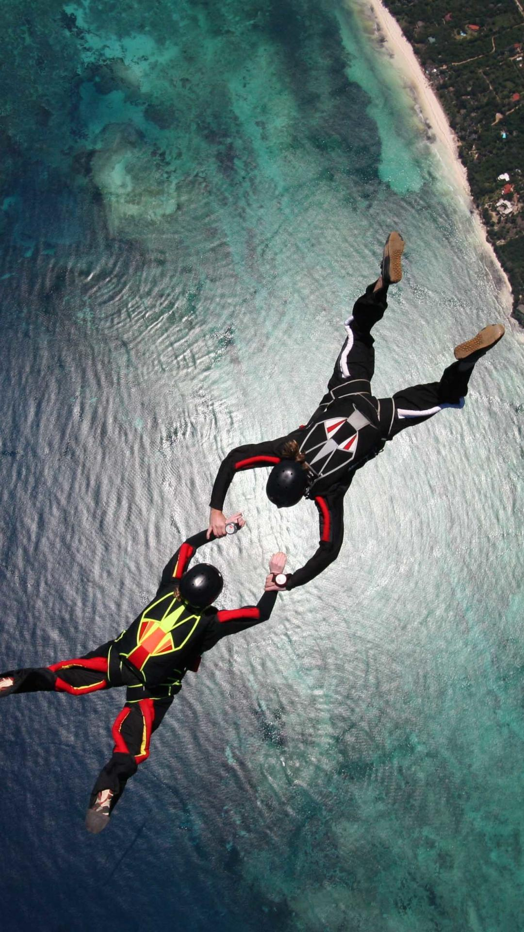 Skydiving Skydivers Parachuting Stunt Ocean HD Wallpapers