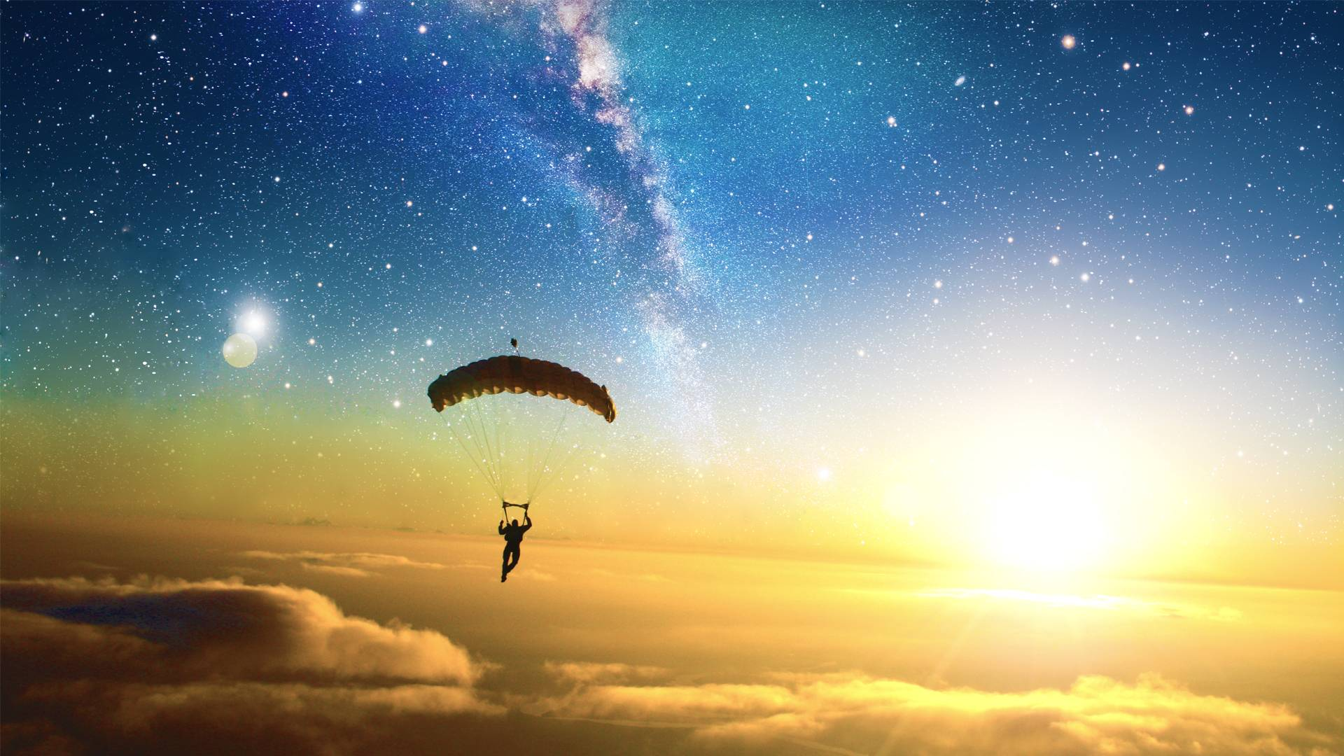 Sunset Parachute [1920x1080] : wallpapers