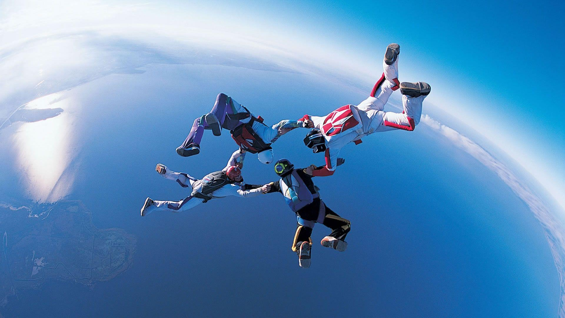 Jumping, Paratrooper, Atmosphere, Extreme Sport, Parachute HD