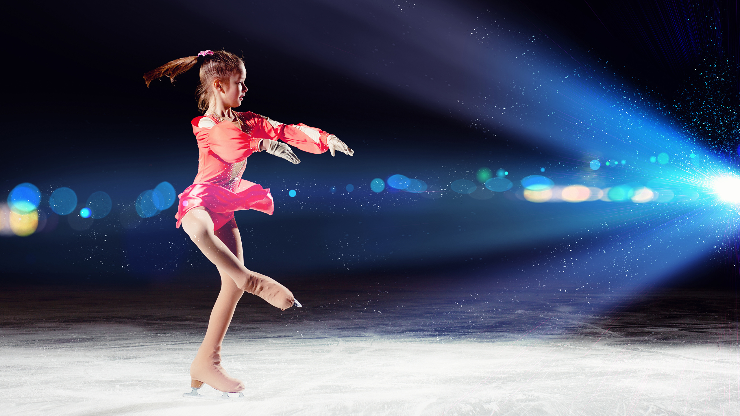 Photo Little girls Ice skate Dance Ice Children 2560x1440