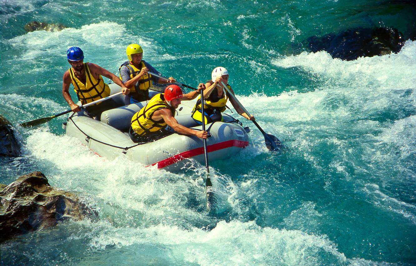 Wallpapers river, for, the descent, boat, helmet, extreme, mountain