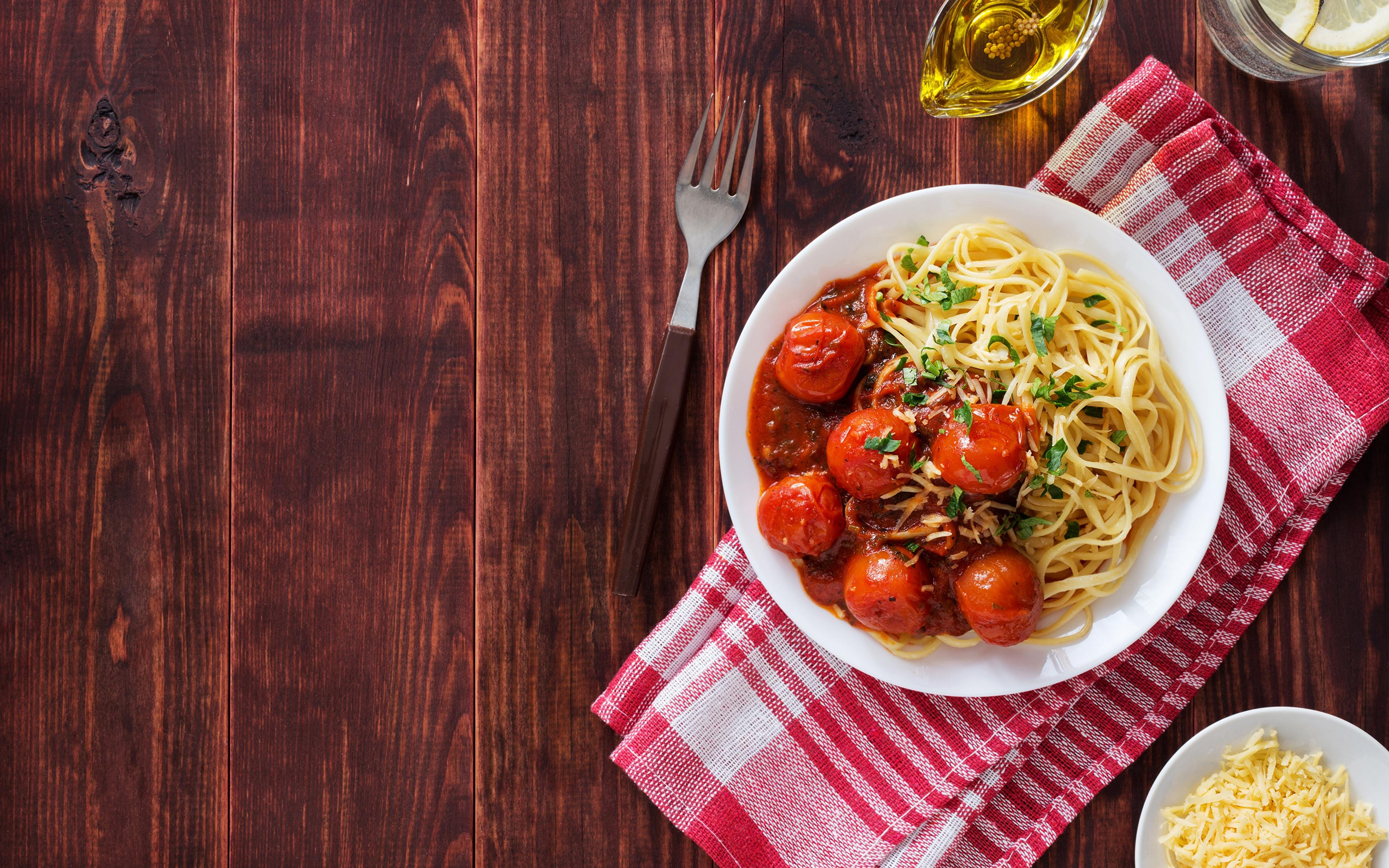 Wallpapers Pasta Tomatoes Fork Food Plate 3840x2400