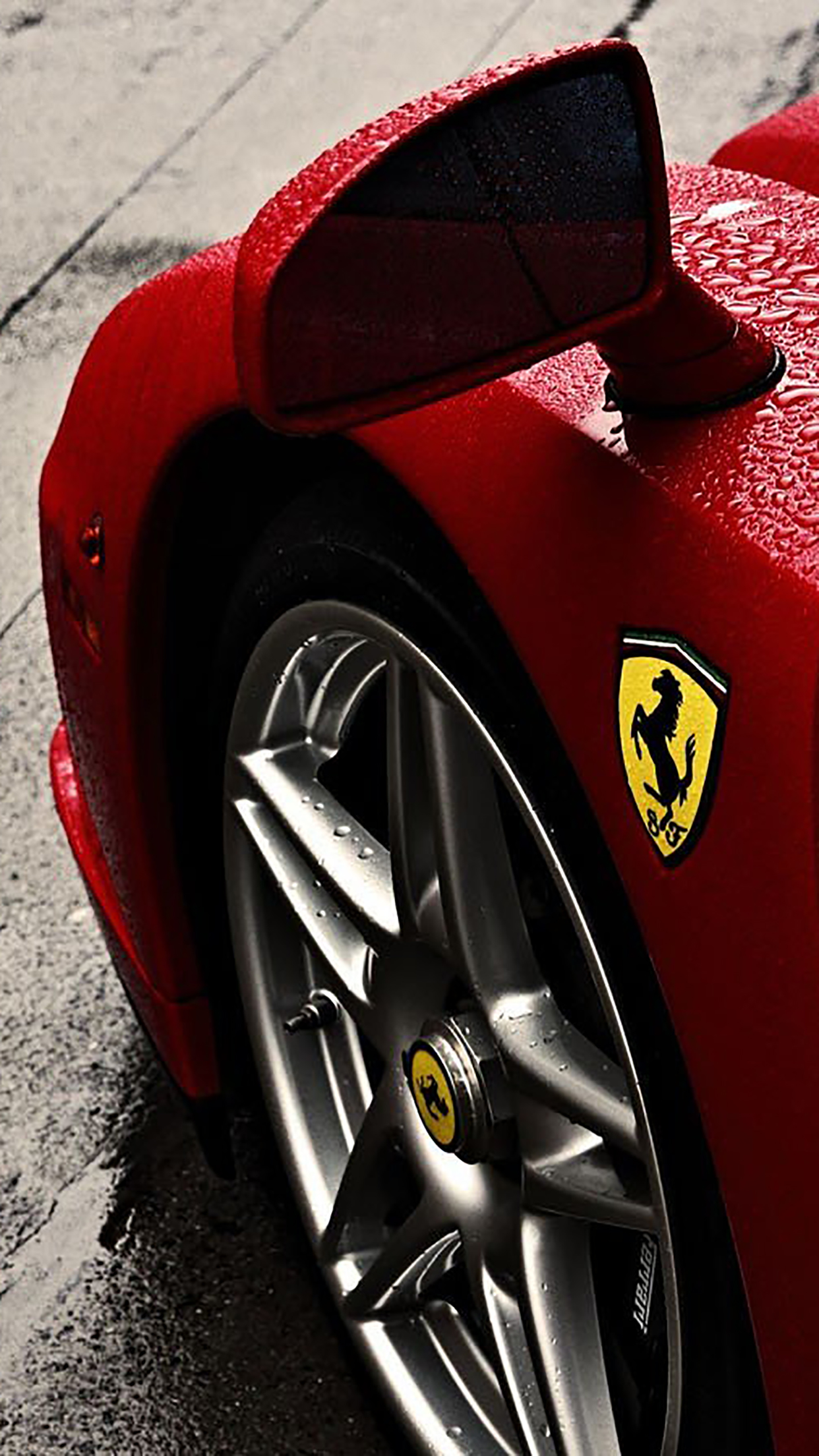 Ferrari : Enzo Ferrari Logo Rain Wheel Wallpapers for iPhone X, 8, 7