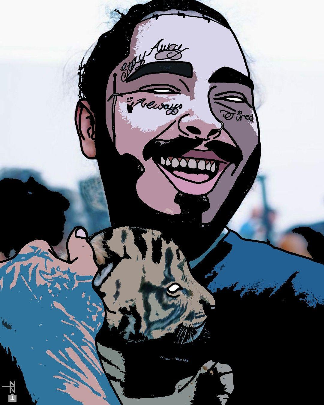 Post Malone Drawing: Post Malone Cartoon Wallpapers