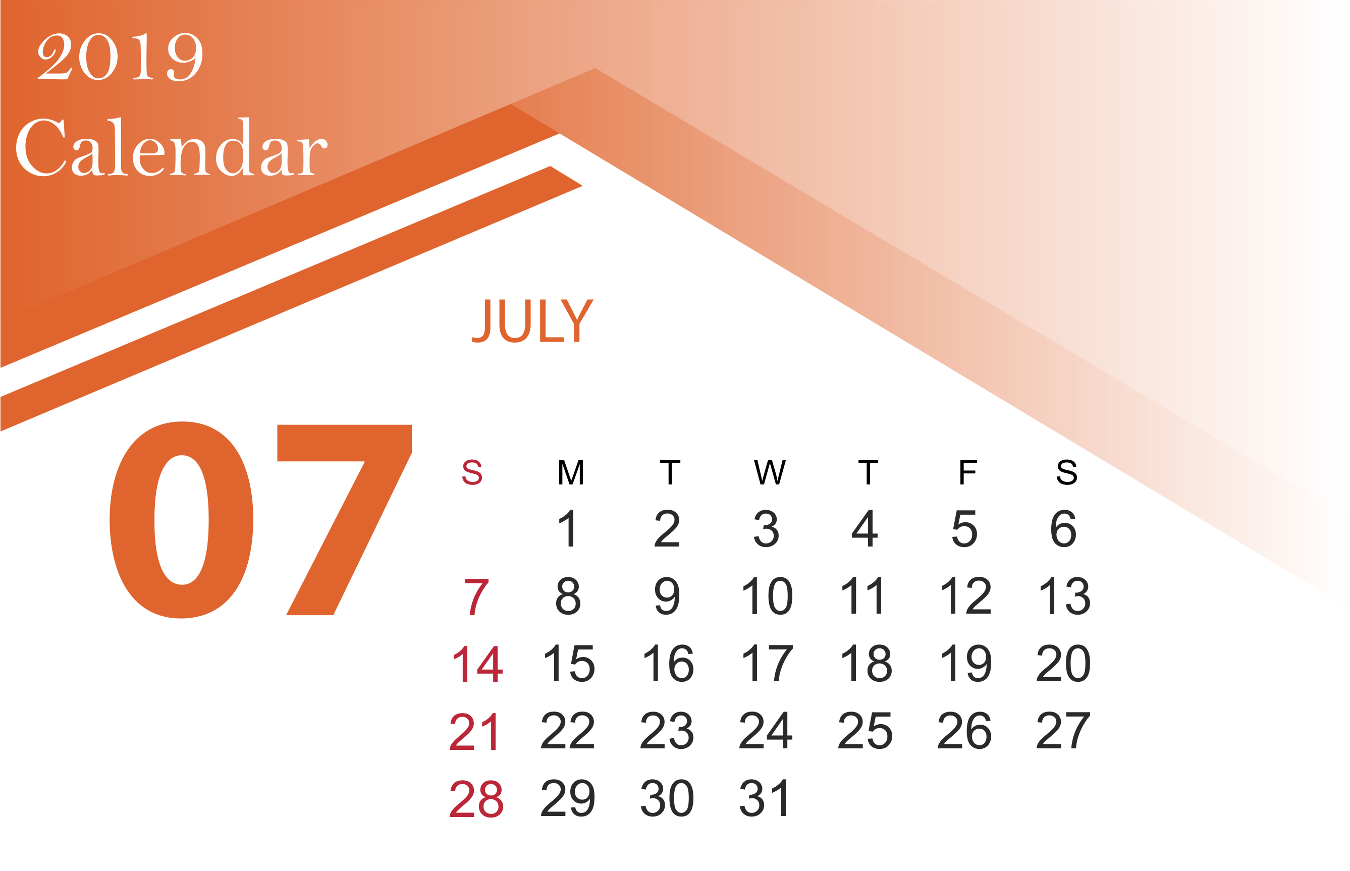 July 2019 Calendar Printable Template With Holidays