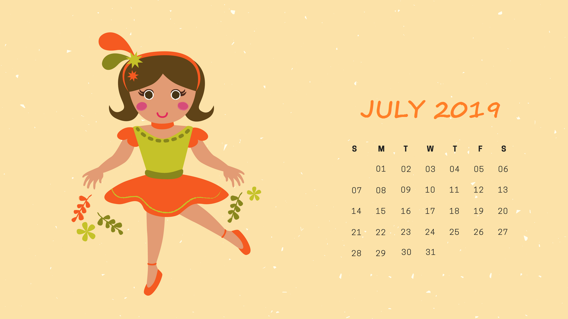 2019 July HD Calendar Wallpapers