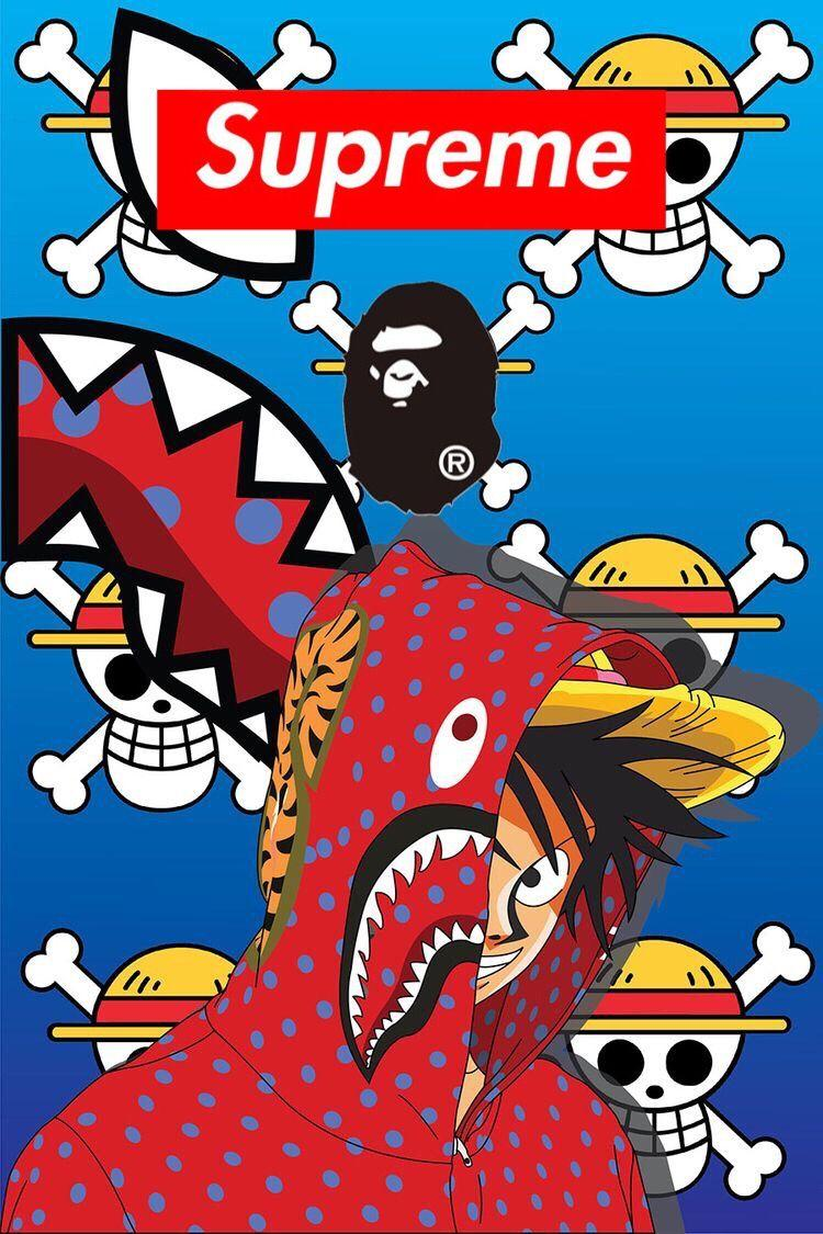 Supreme×APE×ONE PIECE